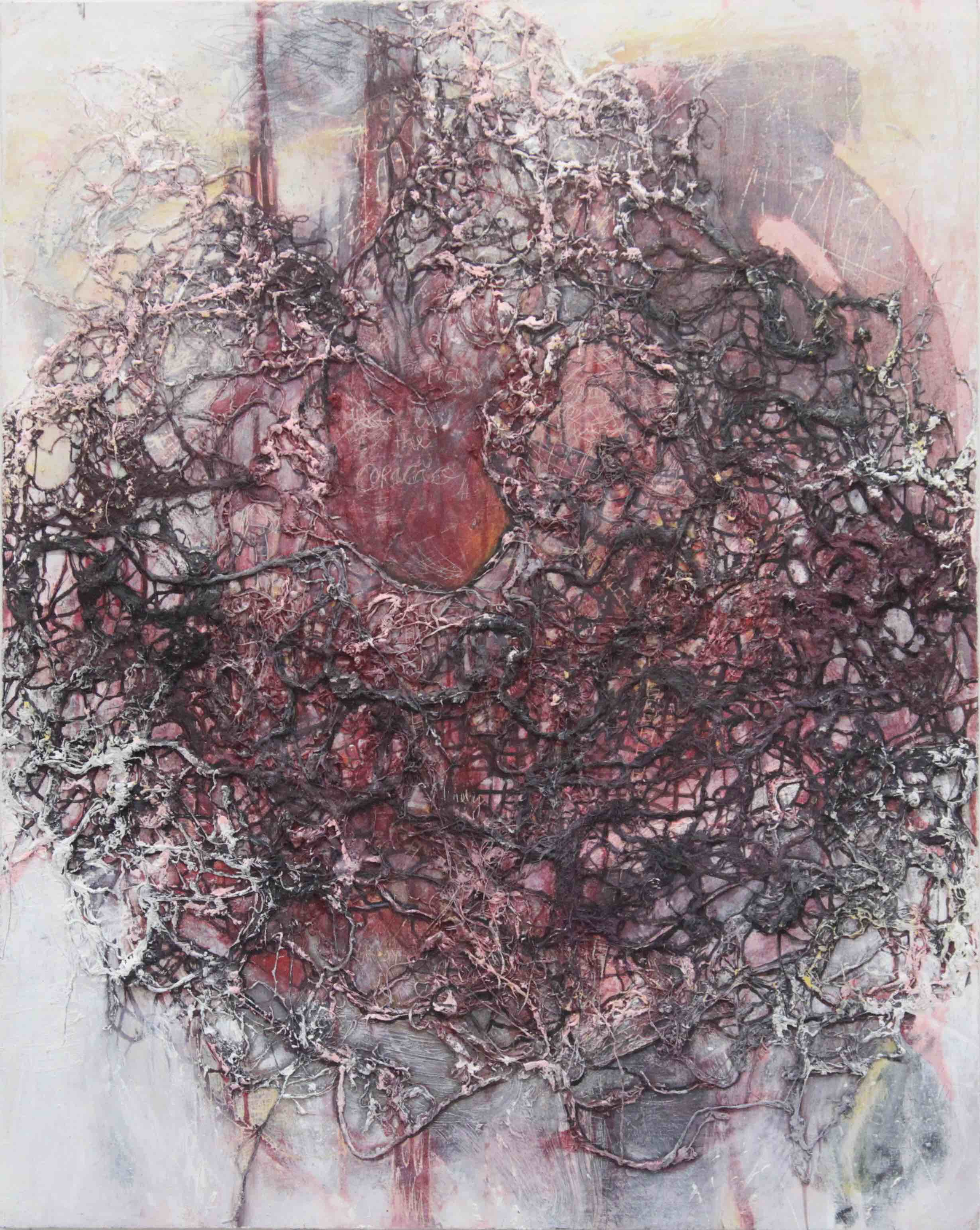 Coração / 2011 / oil, beeswax, thread on panel / 31.5 x 25.19 inches / 80 x 64 cm