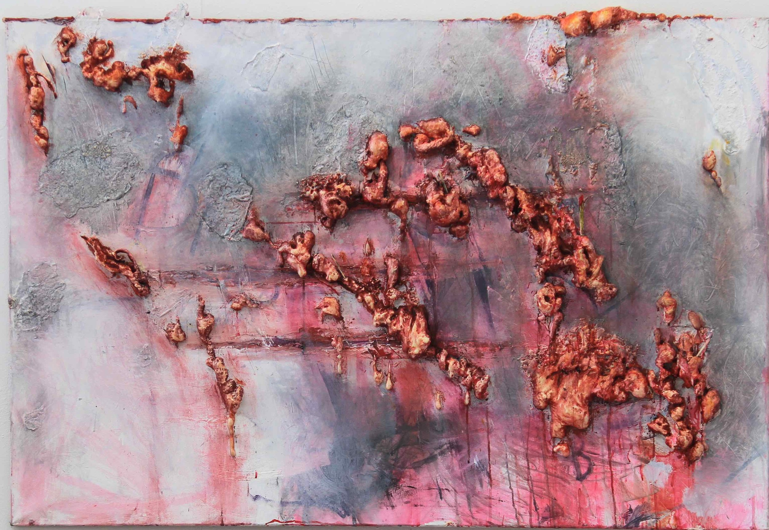 Afterparty / 2012 / acrylic, polyurethane, oil on canvas / 39.37 x 64.96 inches / 100 x 165 cm