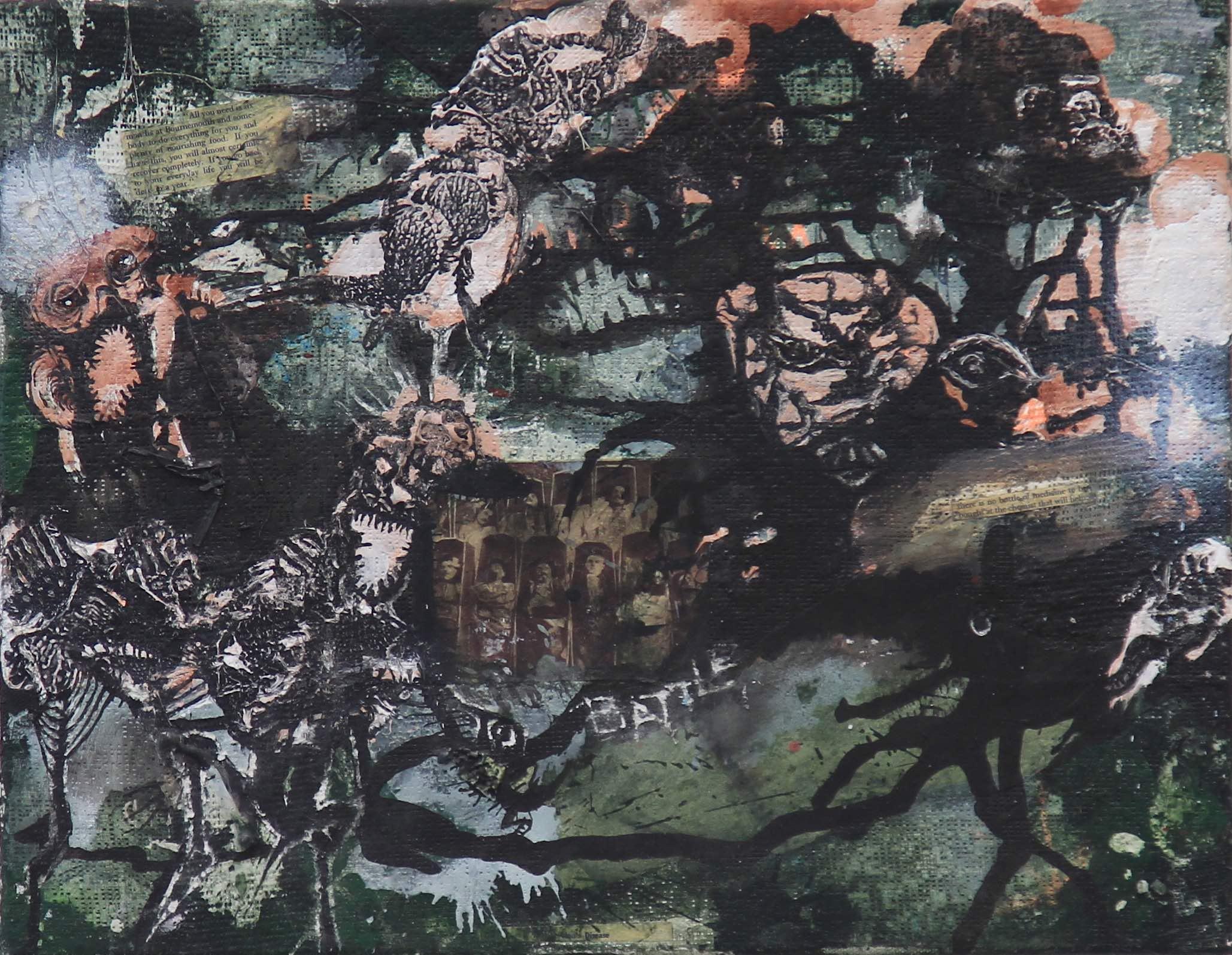 Battle / 2012 / collage, acrylic on plaster based panel /