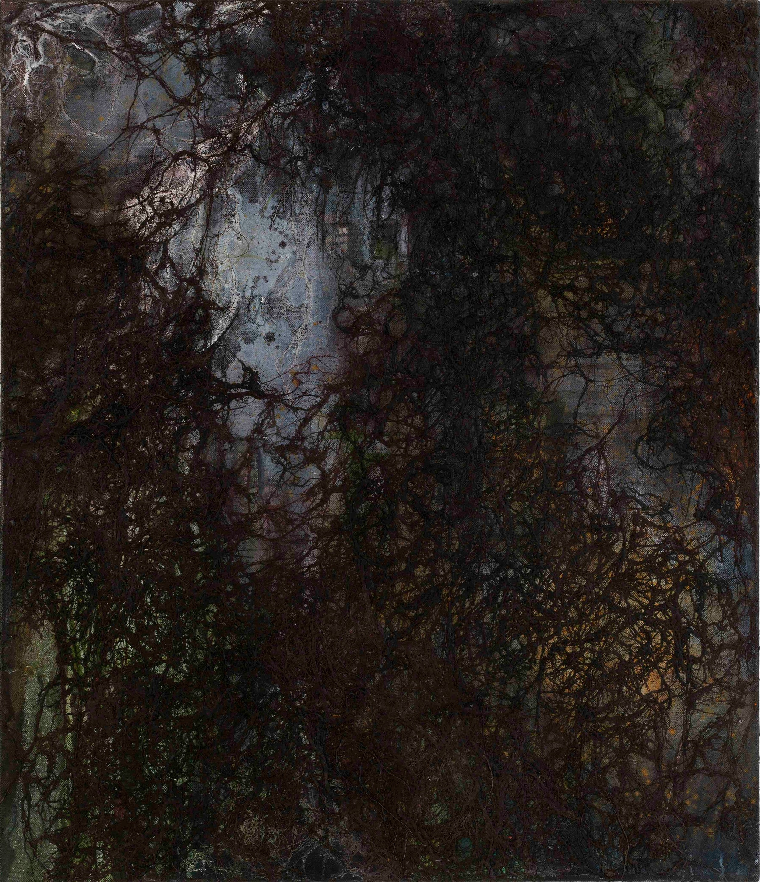 No Fear / 2010 / oil, beeswax, thread on canvas / 45.66 x 39.37 inches / 116 x 100 cm