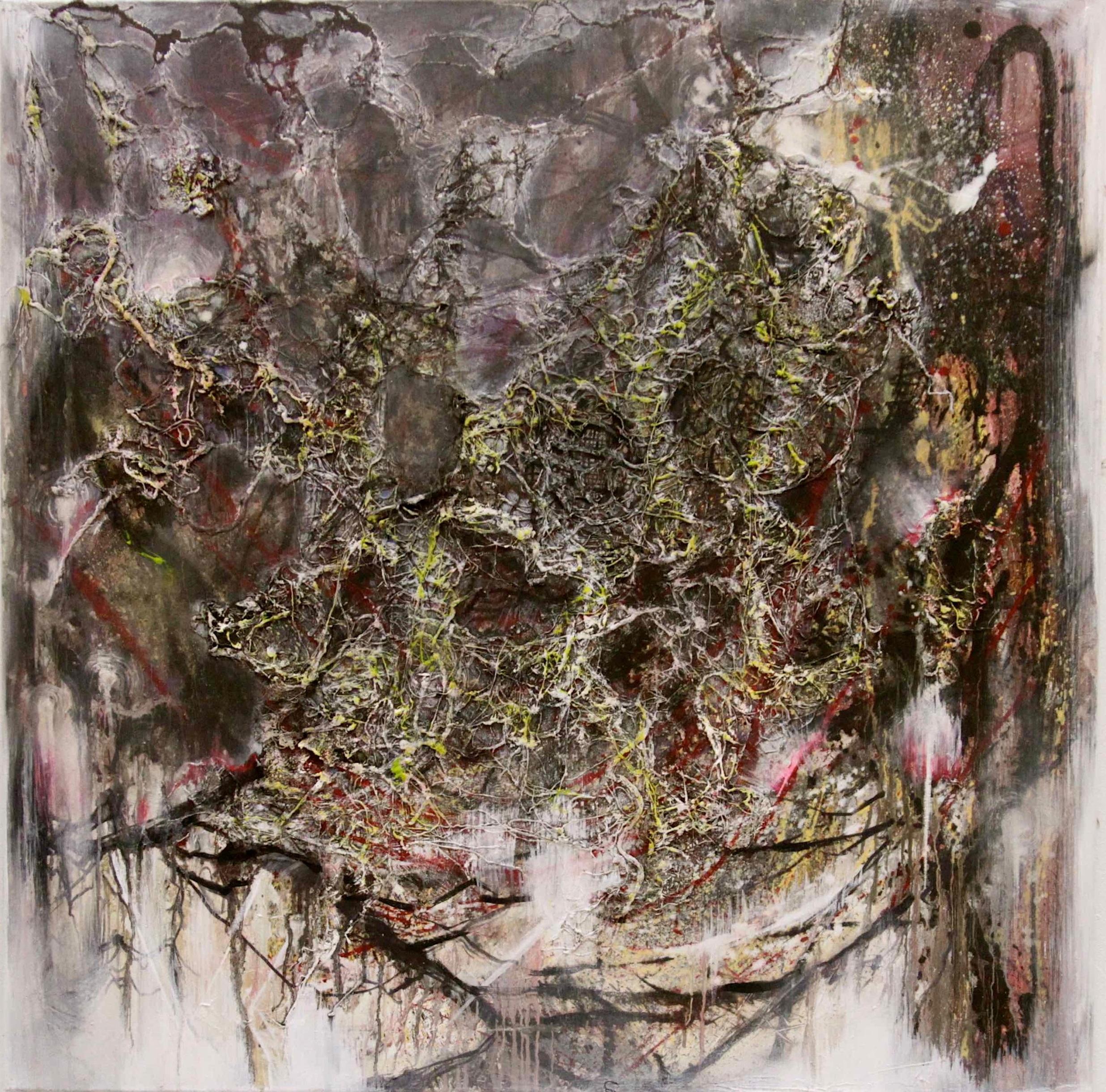Nest III / 2012 / oil, thread, beeswax on canvas