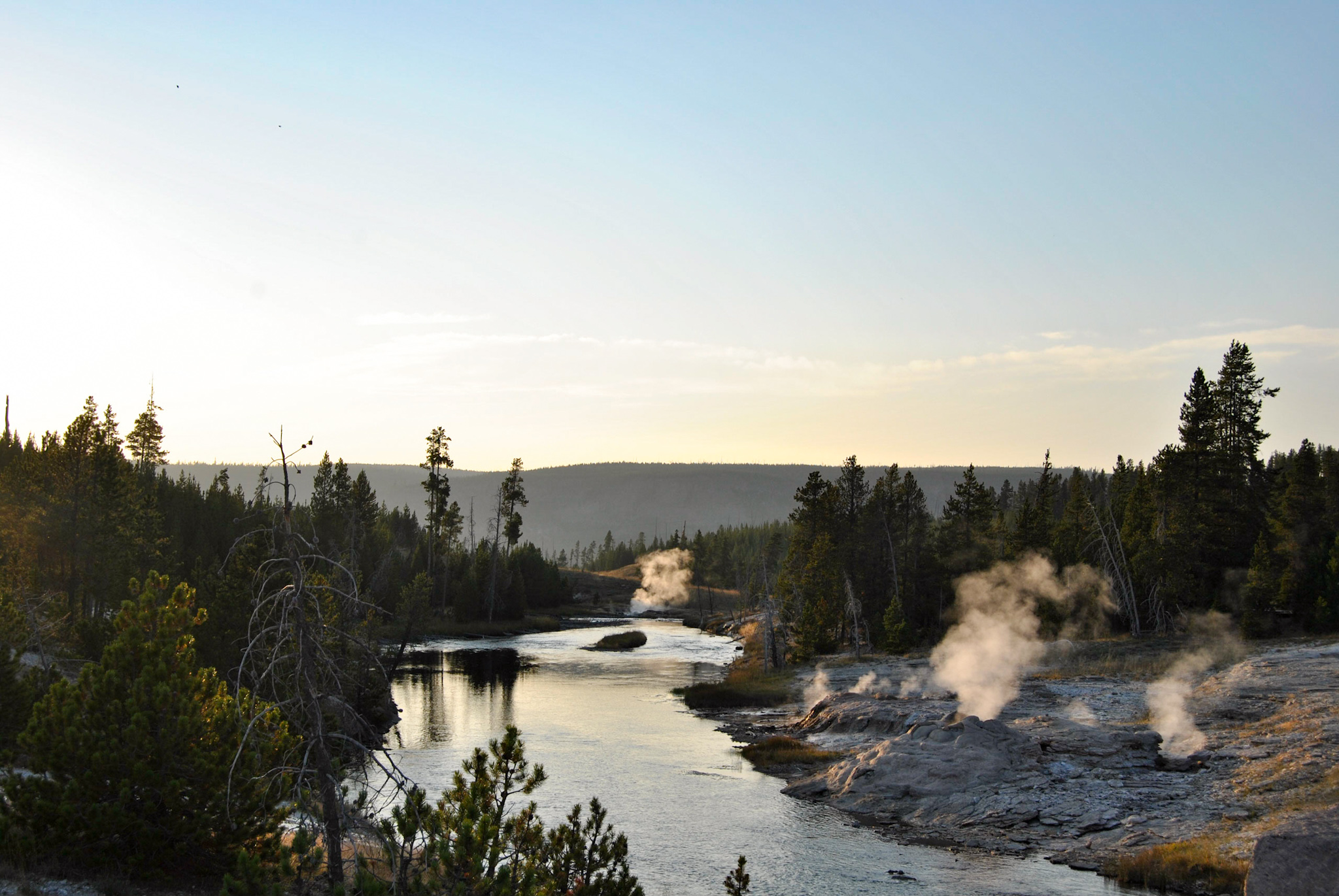 Sunset over the Firehole River, August 2015