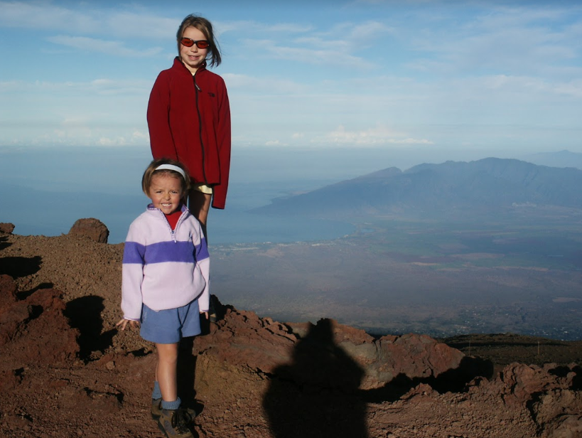 Little Mikaela and little Gianna at Haleakala National Park.