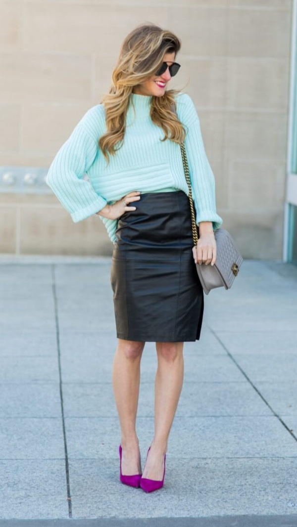 Skirt/heel looks here
