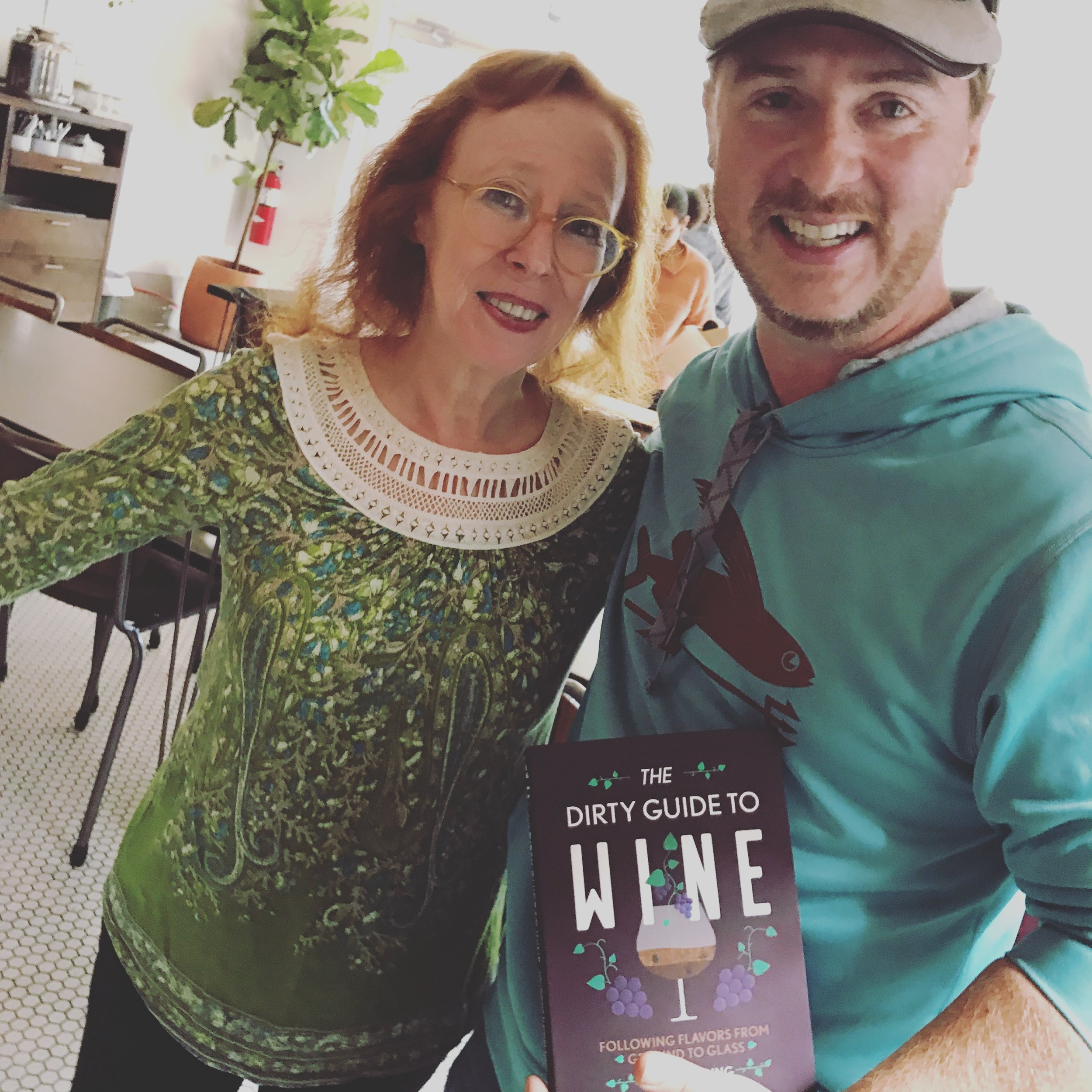 Tim getting his copy of Alice Feiring's Dirty Guide to Wine