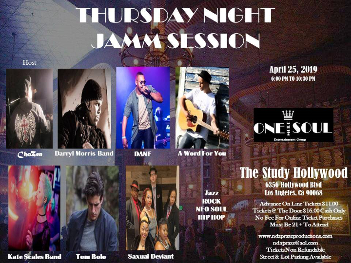 The Study Hollywood - Thursday, April 25th On Stage At 8:30 pm6356 Hollywood BlvdLos Angeles, CA 90068