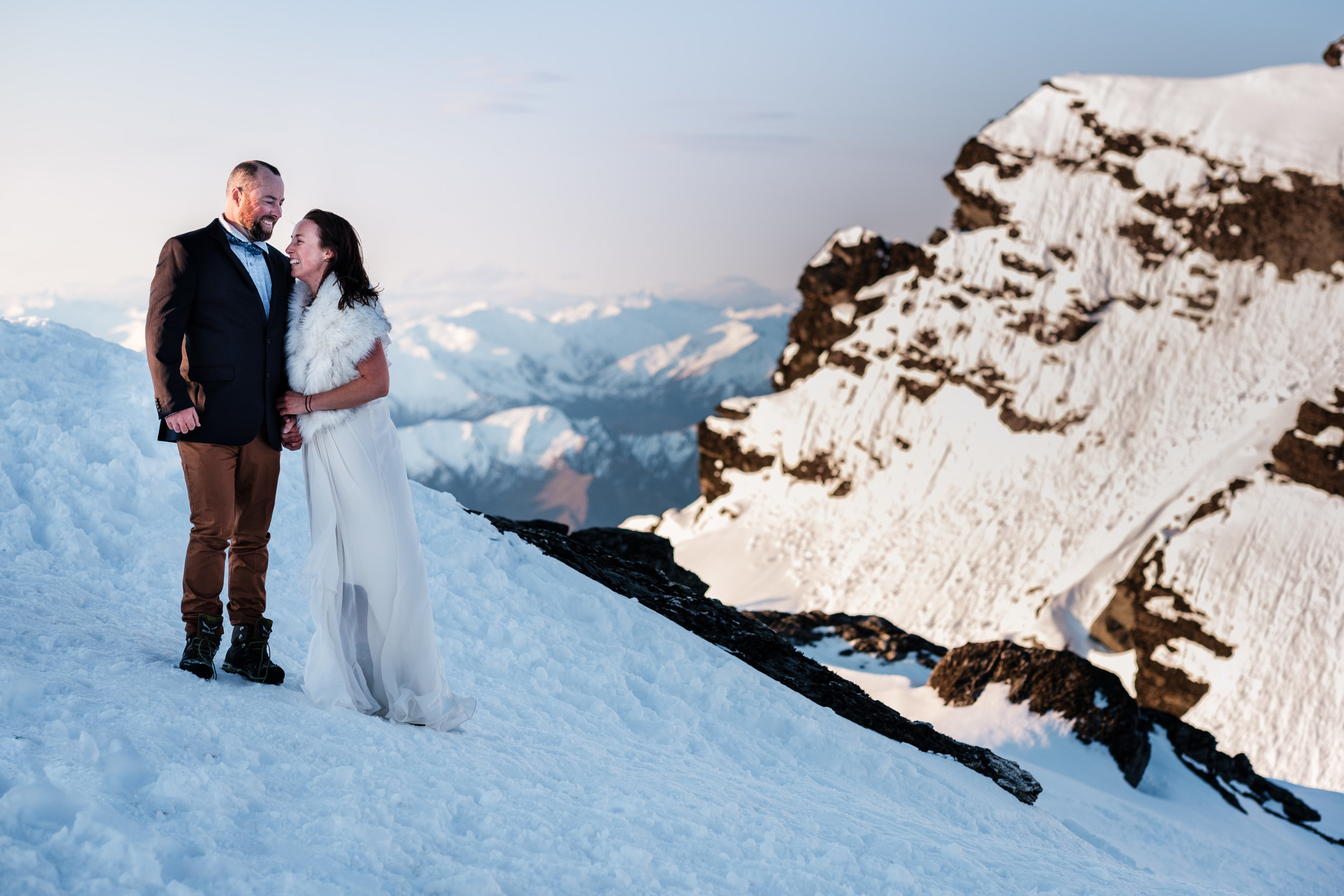 Bride and groom wedding photoshoot at the top the Remarkables in Queenstown. fun, relaxed adventurous wedding photography gold coast