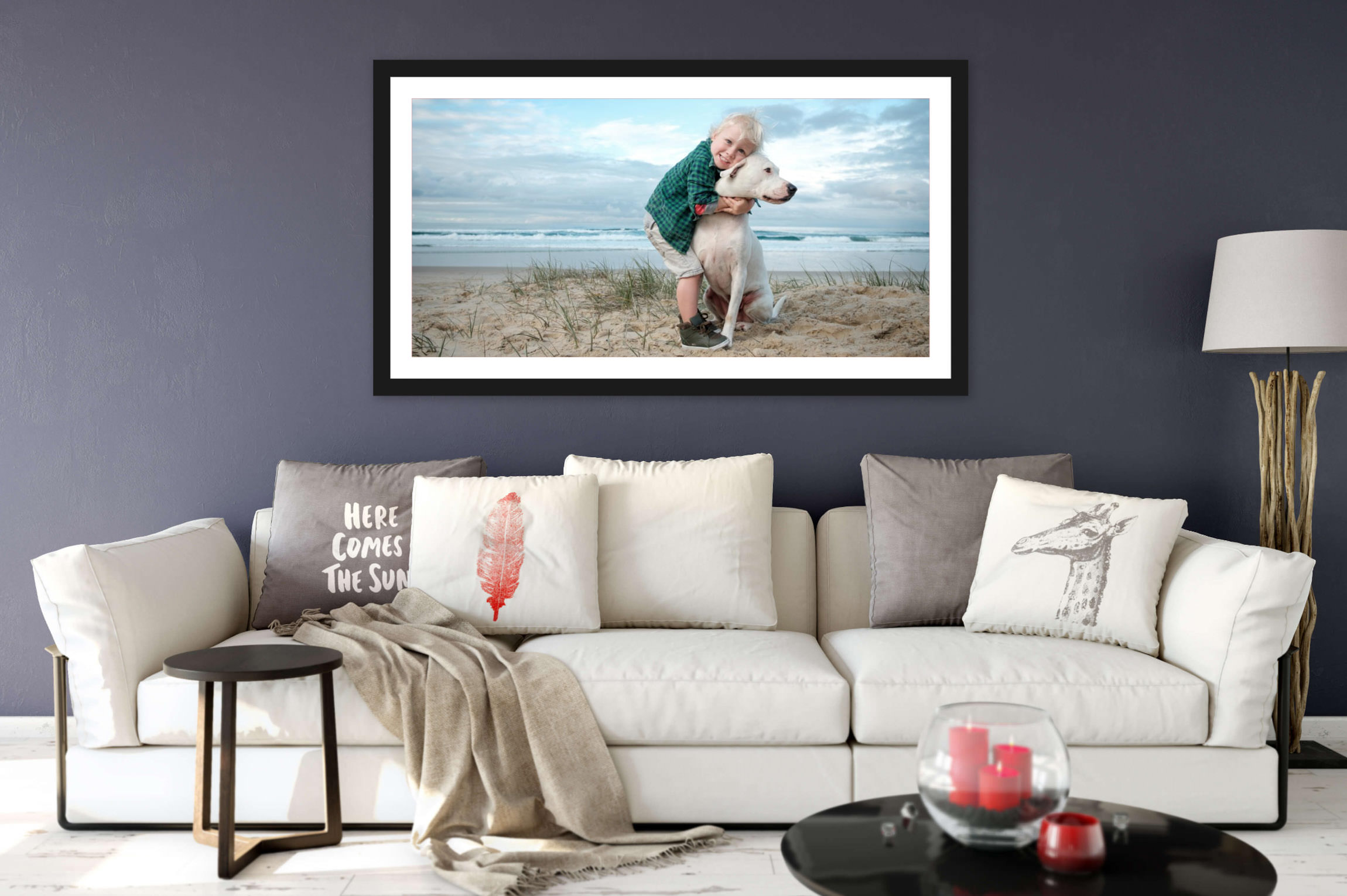 Child hugging dog at Palm Beach at sunset relaxed fun gold coast family photography