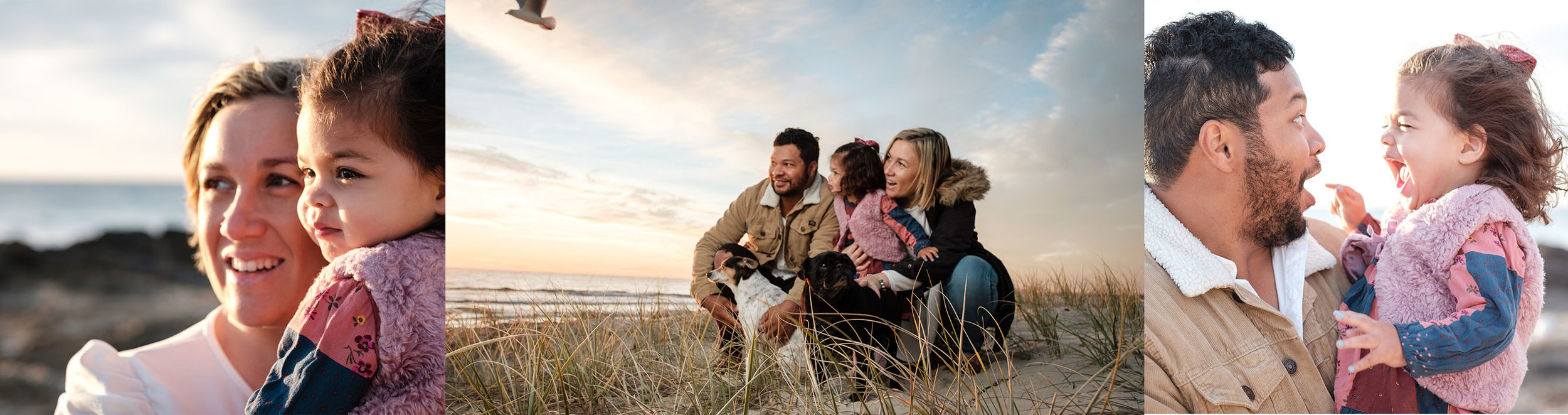family with dogs playing on the beach at sunrise. relaxed fun gold coast family photography