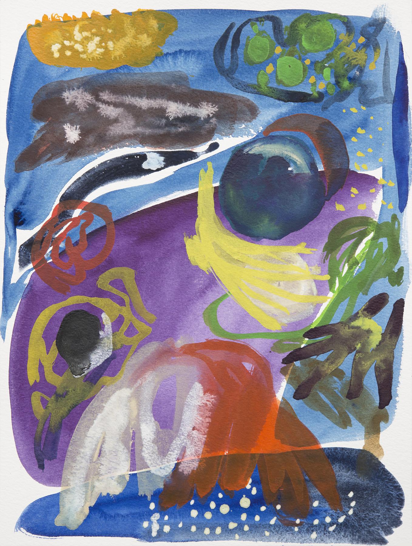 Sebastian Gladstone   Tiny infinite atoms, quarks, plancks,  2018 watercolor on paper in white enamel frame 14 x 18 in.