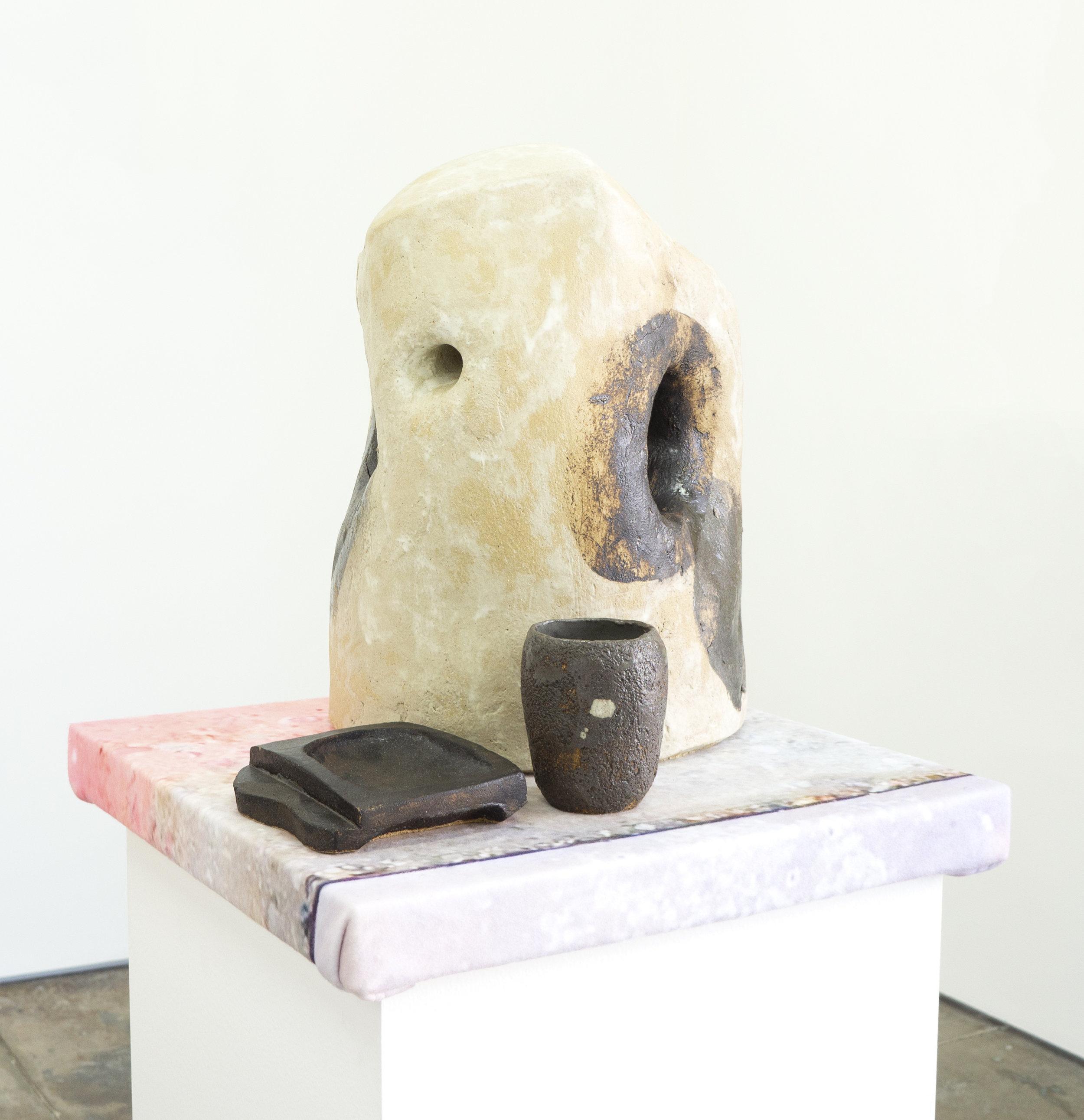 Bennet Schlesinger   Domestic Arrangement II,  2019 glazed clay on digital printed fleece dimensions variable
