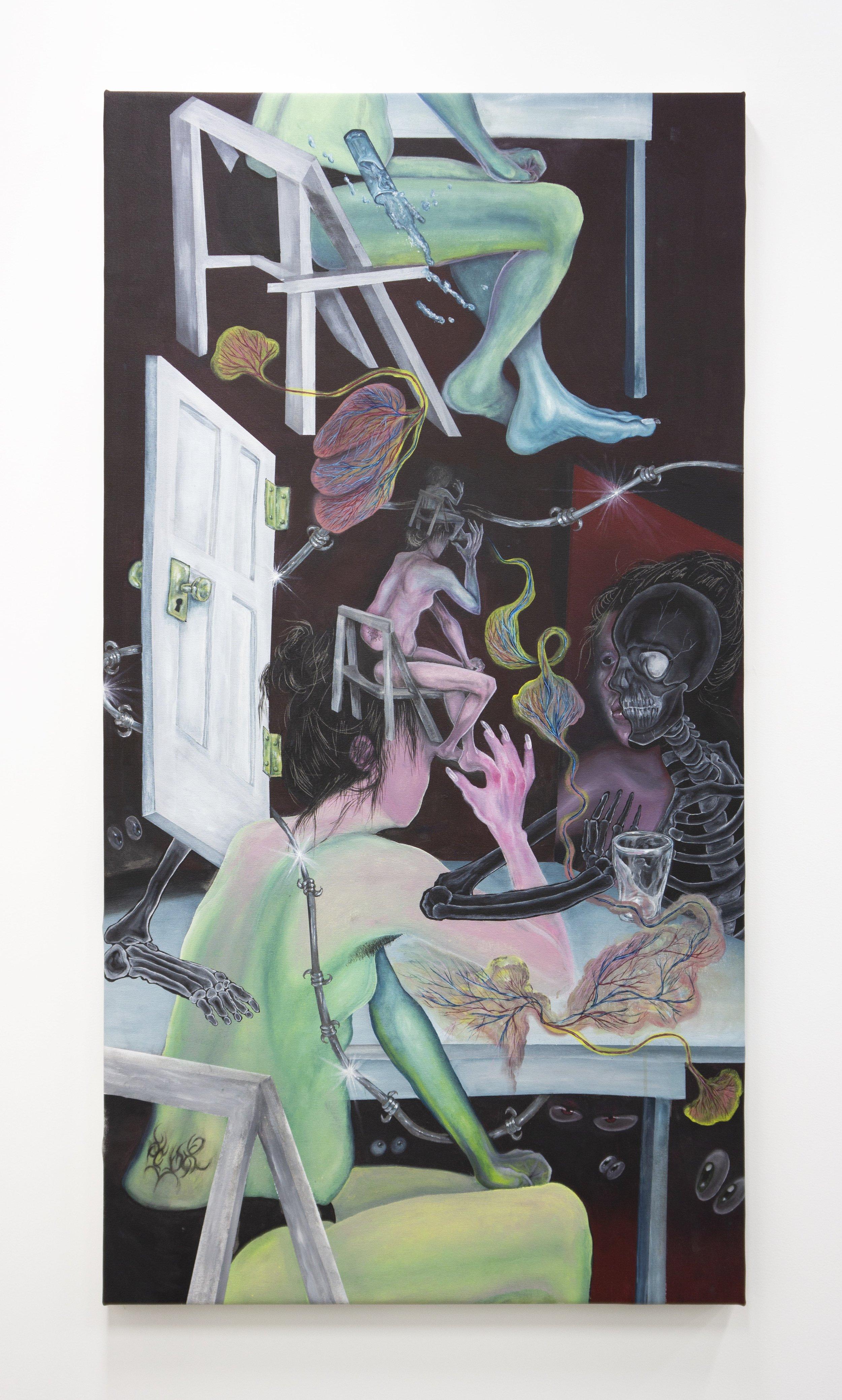Sarah Wilson  Bone Confetti , 2019 acrylic on canvas 64 x 34 inches