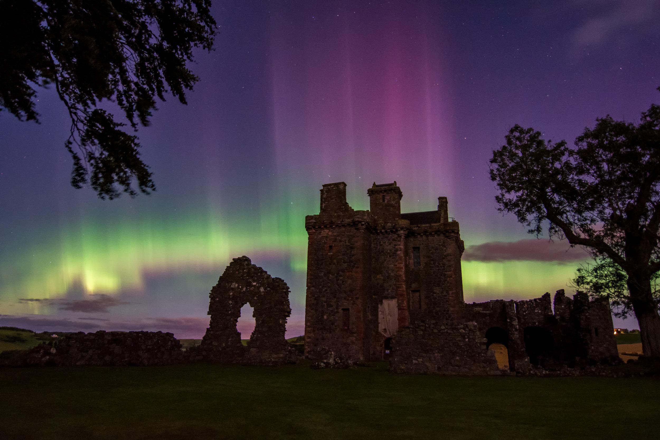 Aurora at Balvaird Castle by Katherine Fotheringham