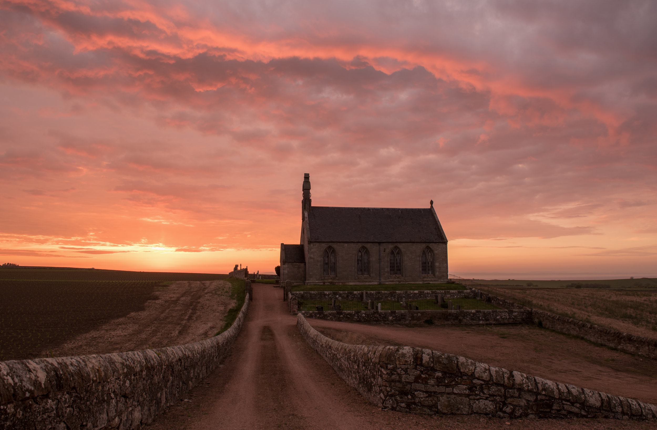 Sunset at Boarhills Church by Katherine Fotheringham