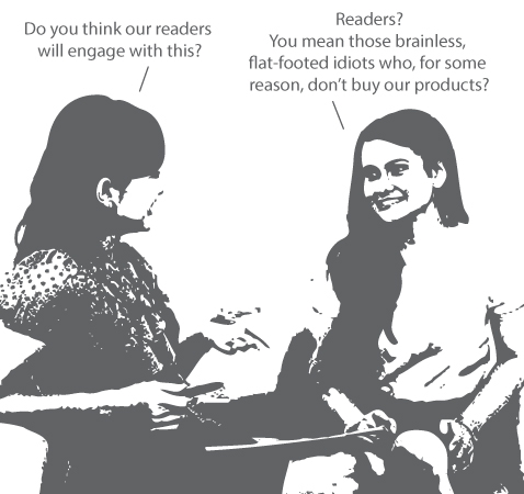 Cartoon about engaging readers