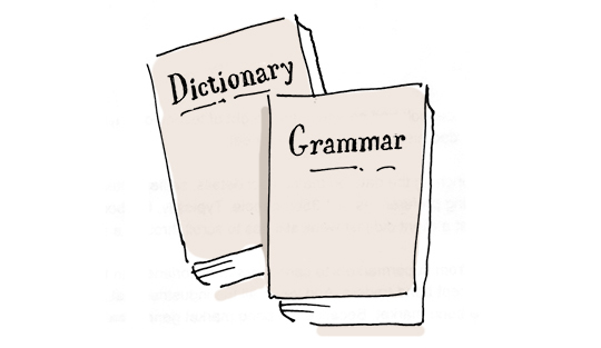 Cartoon of a dictionary and a grammar book