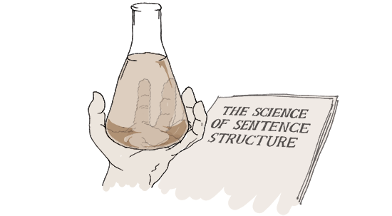 Drawing of scientist holding a beaker