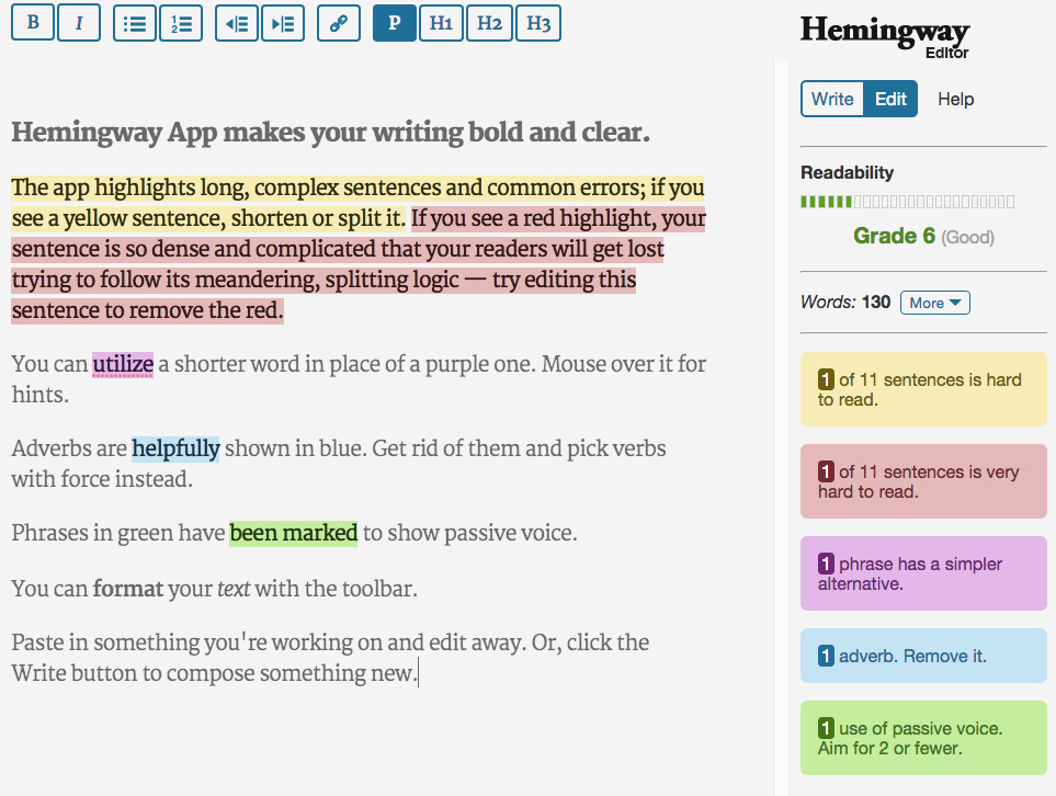 Online writing tools: The Hemmingway Editor
