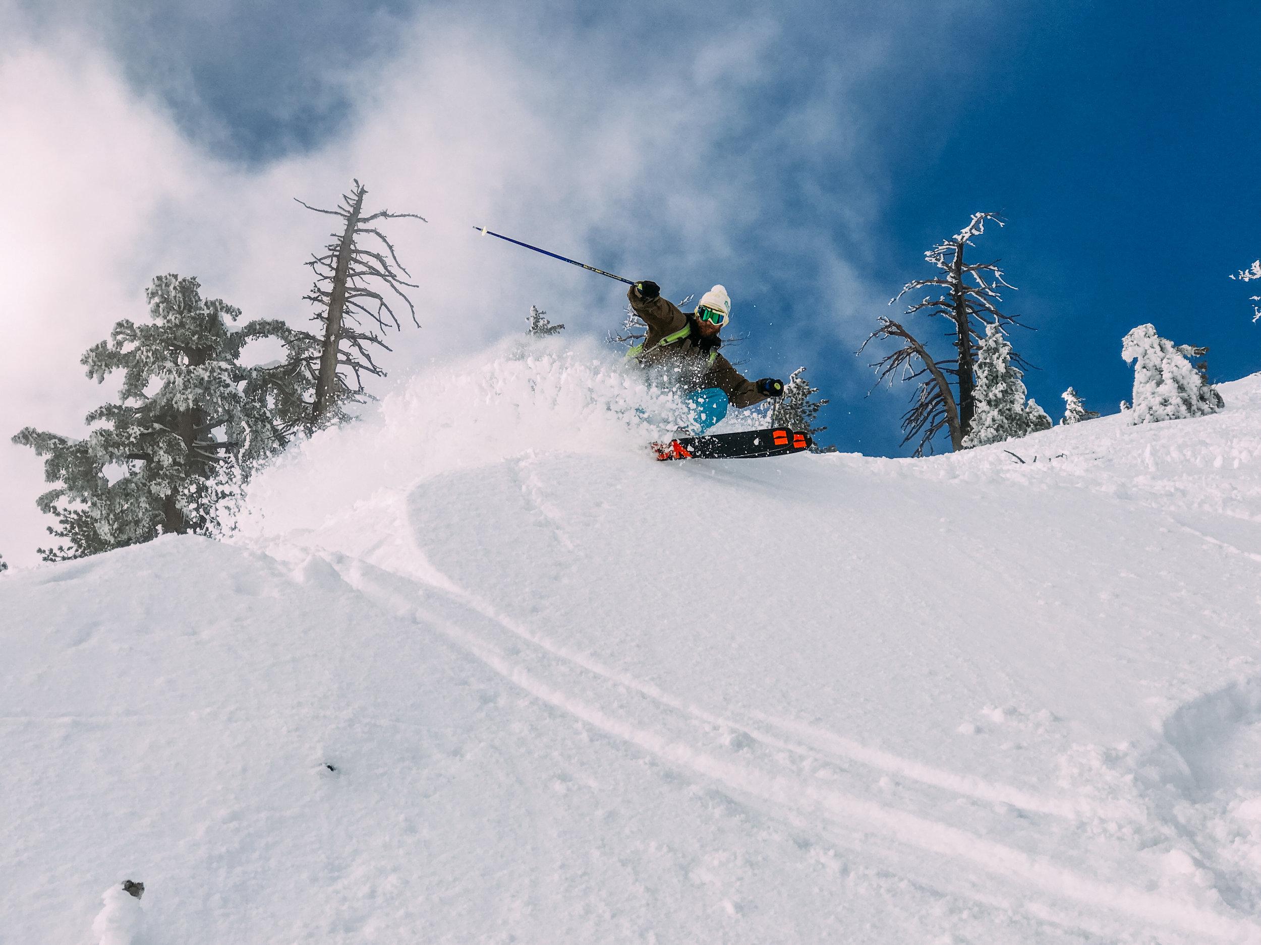 Skiing Pow on Blackcomb Crystal Zone.