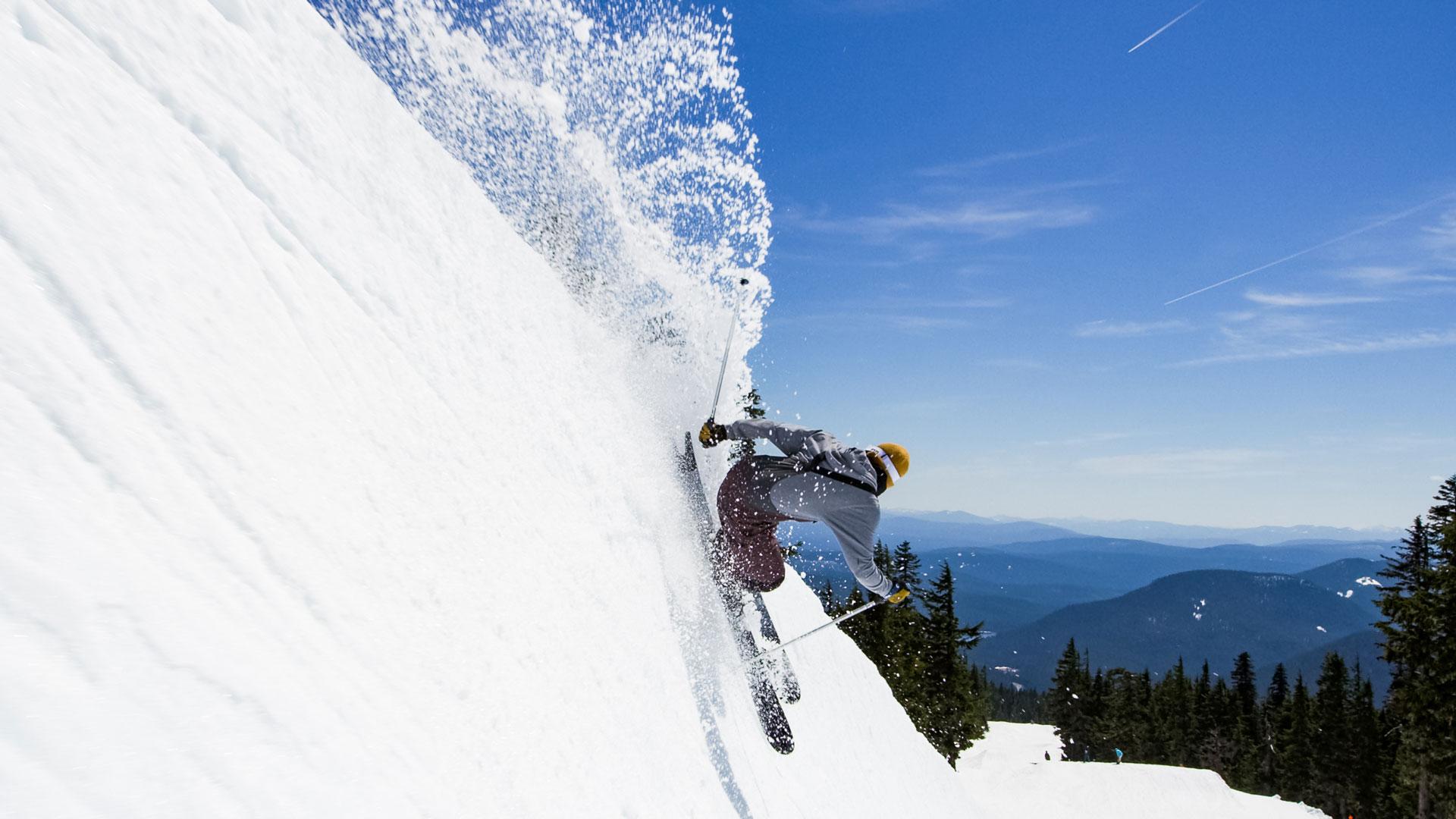 Spring Skiing Slashing Snow