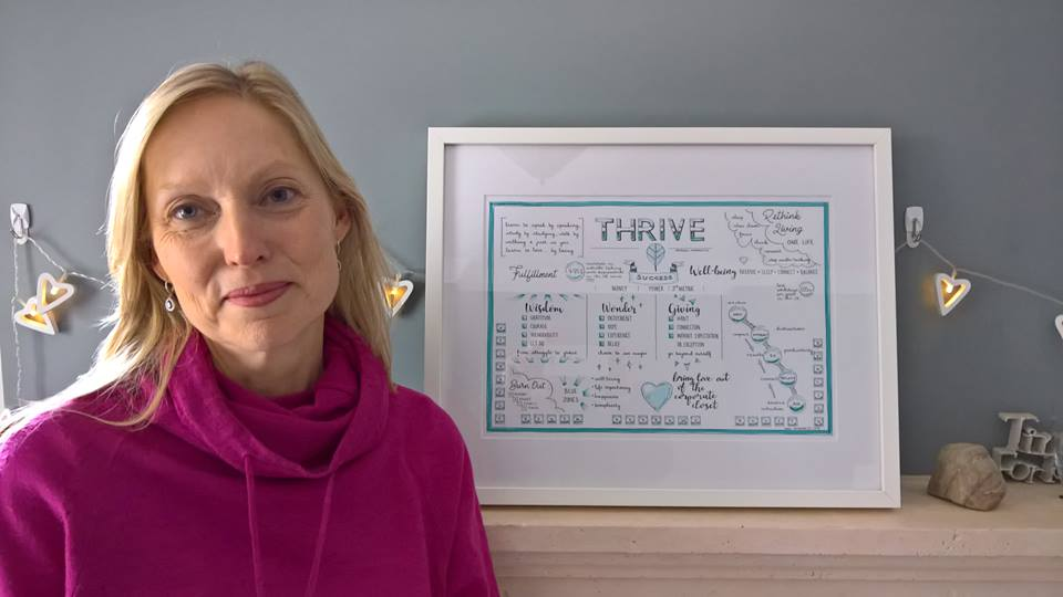 Andrea Dean with a framed VS of  Thrive