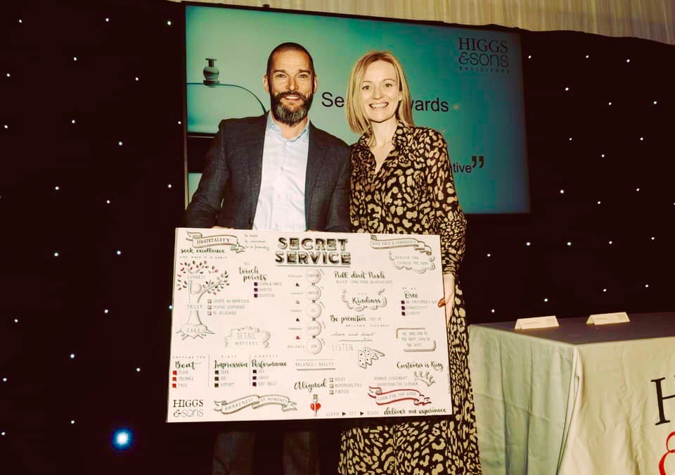 Dani presenting Fred  Sirieix with a print (on canvas) of his book    Secret Service    at the Higgs and Sons Service Awards