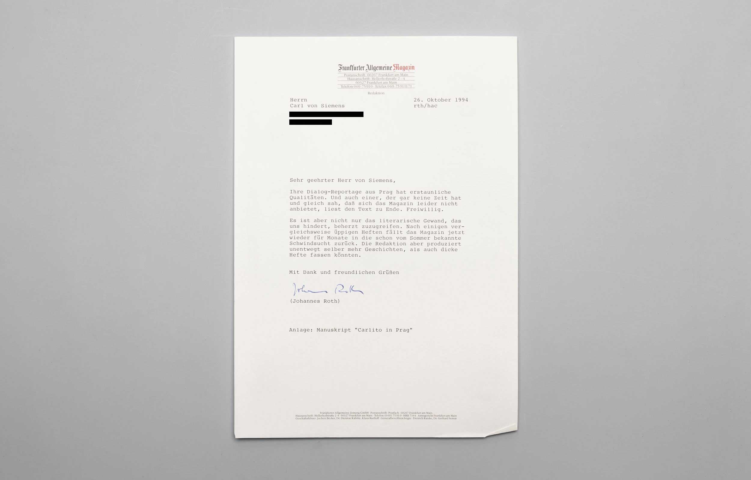Carl von Siemens Rolling Stone Brief 1