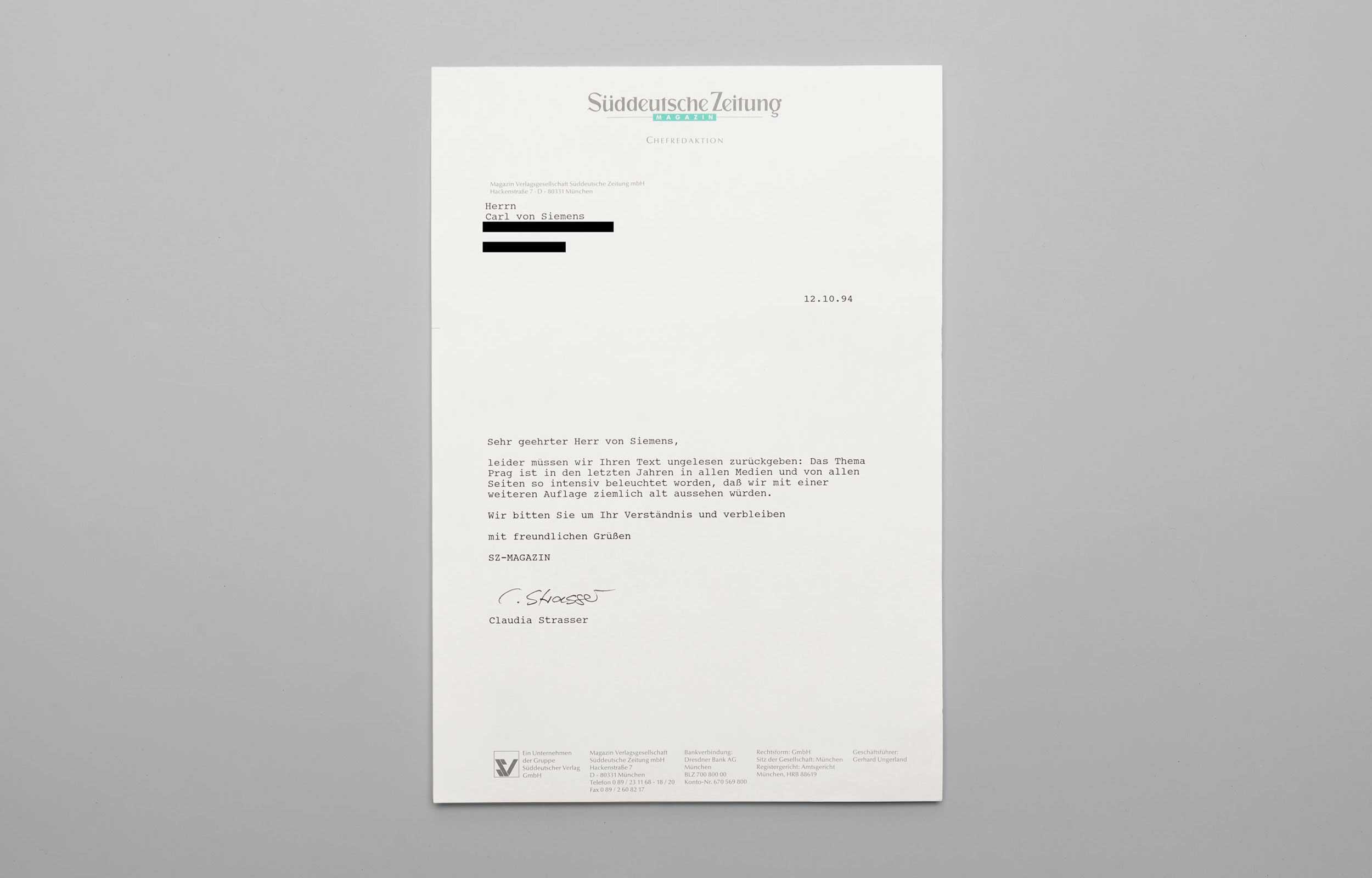 Carl von Siemens Rolling Stone Brief 2