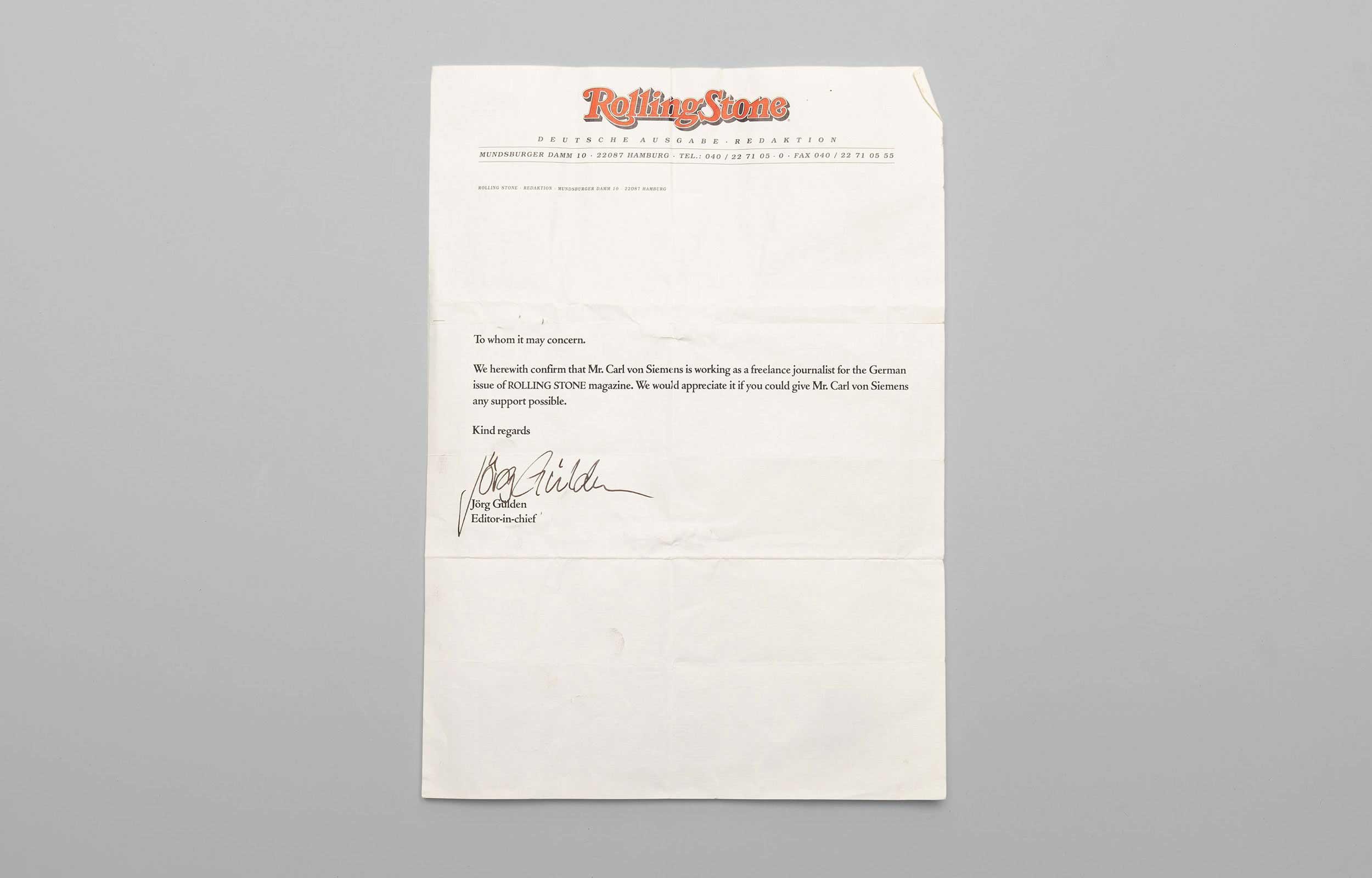 Carl von Siemens Rolling Stone Brief 4