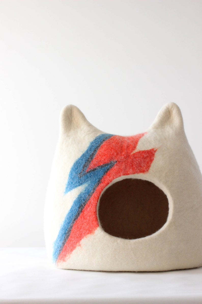 ziggy stardust cat cave - Are you a music lover with a pampered kitten? Or just looking to upgrade your cat's sleeping situation? Either way, this funky Bowie-inspired cat bed is a fabulous design statement. Handmade from natural wool.£76.66+