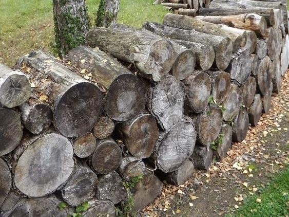 Stacked Log Wall