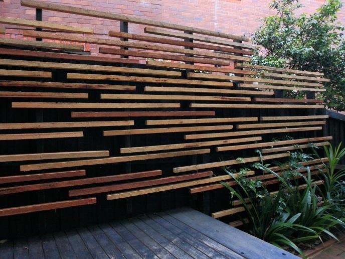 Black Fence with Slats