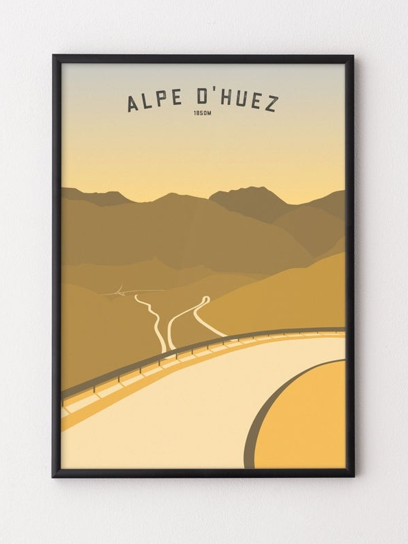 Tour de France Alpe d'Huez Cycling Poster - The 100th Tour has been one of the best so far! Commemorate it with some new artwork, and this gorgeous contemporary design will fit in with most decor.£25.99+