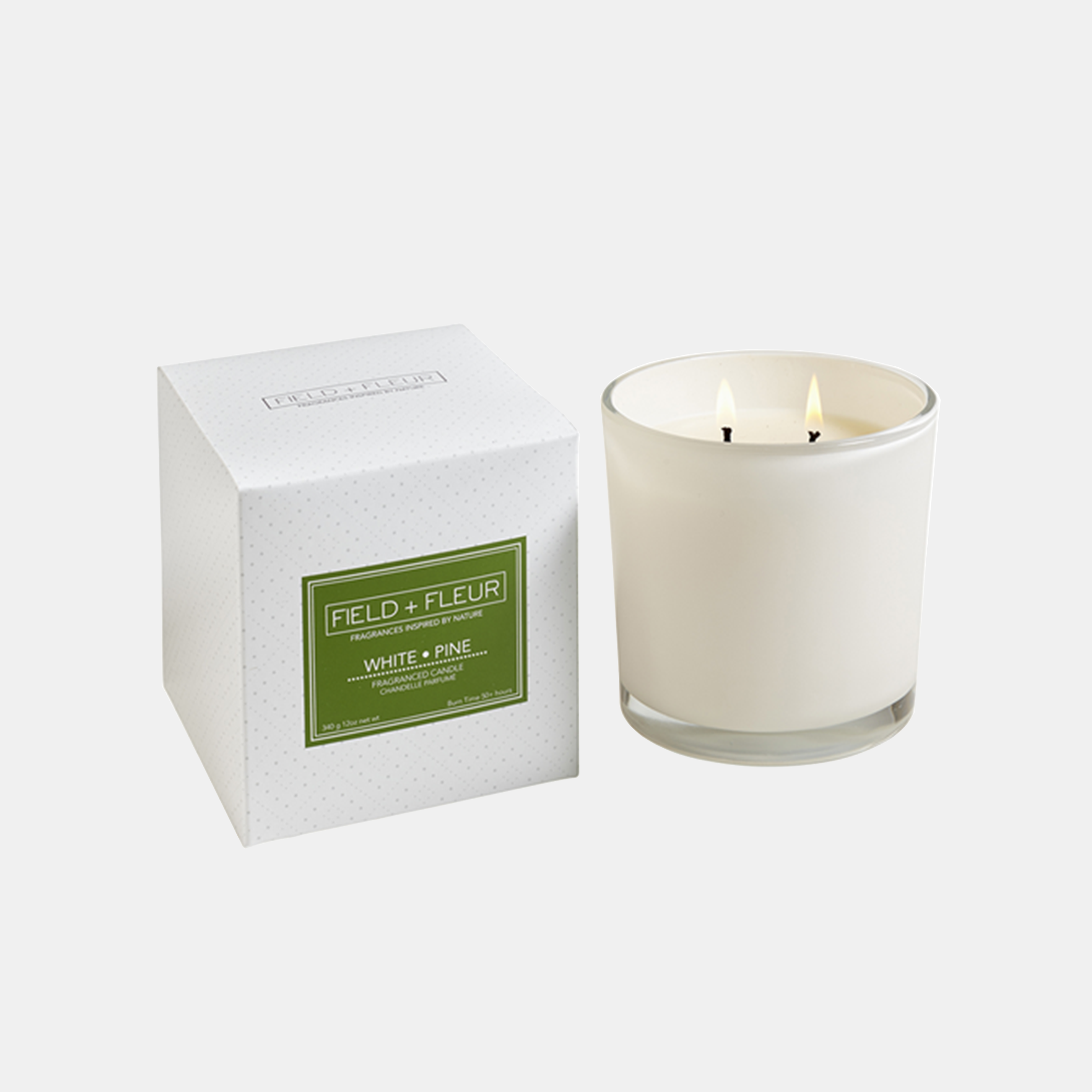 White Pine Candle  Two-wick candle in white glass jar. 12 oz. SKU14495HLN