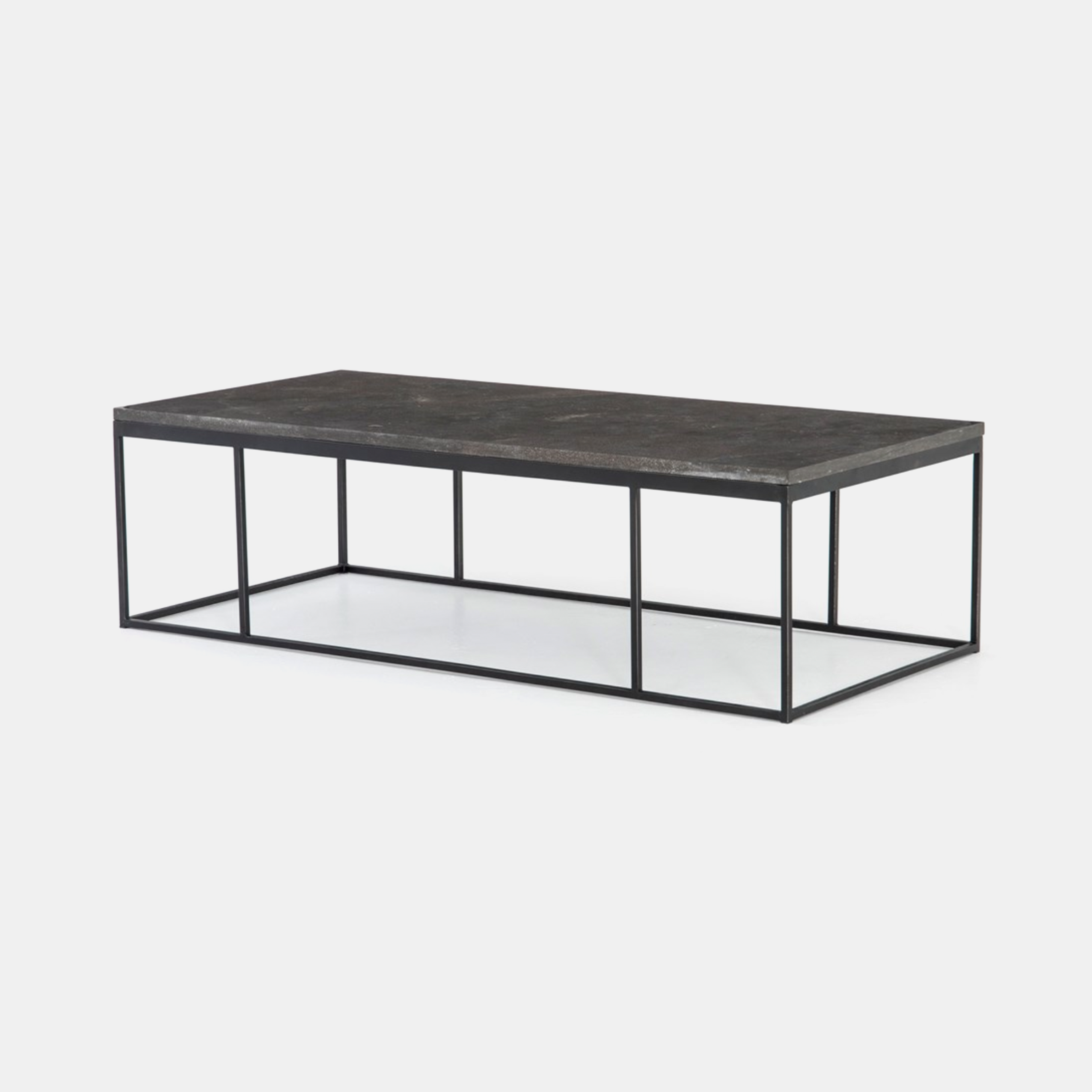"Harlow Coffee Table  60""w x 28""d x 17""h Bluestone top and gunmetal base. SKU7856FHS"