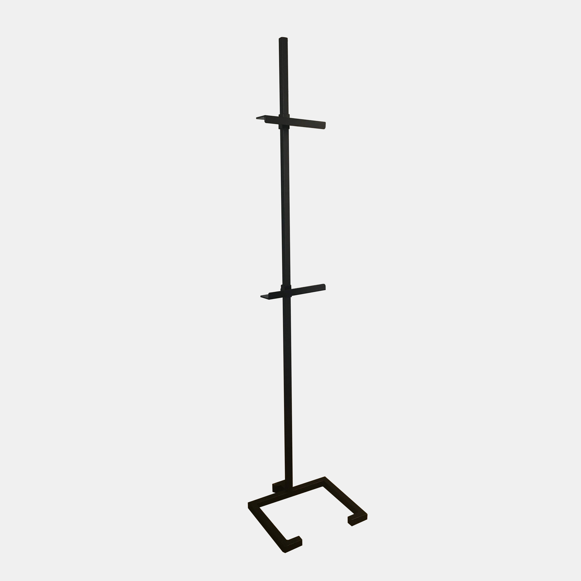 "Medium Steel Easel  Black powder-coated steel base with hollow-core post and adjustable brackets. Custom made in Atlanta, GA. Medium: 72"" high, 15""x14.5"" base. All brackets 2.5"" deep. Additional brackets available for use with two pieces of art. SKU112FMW"