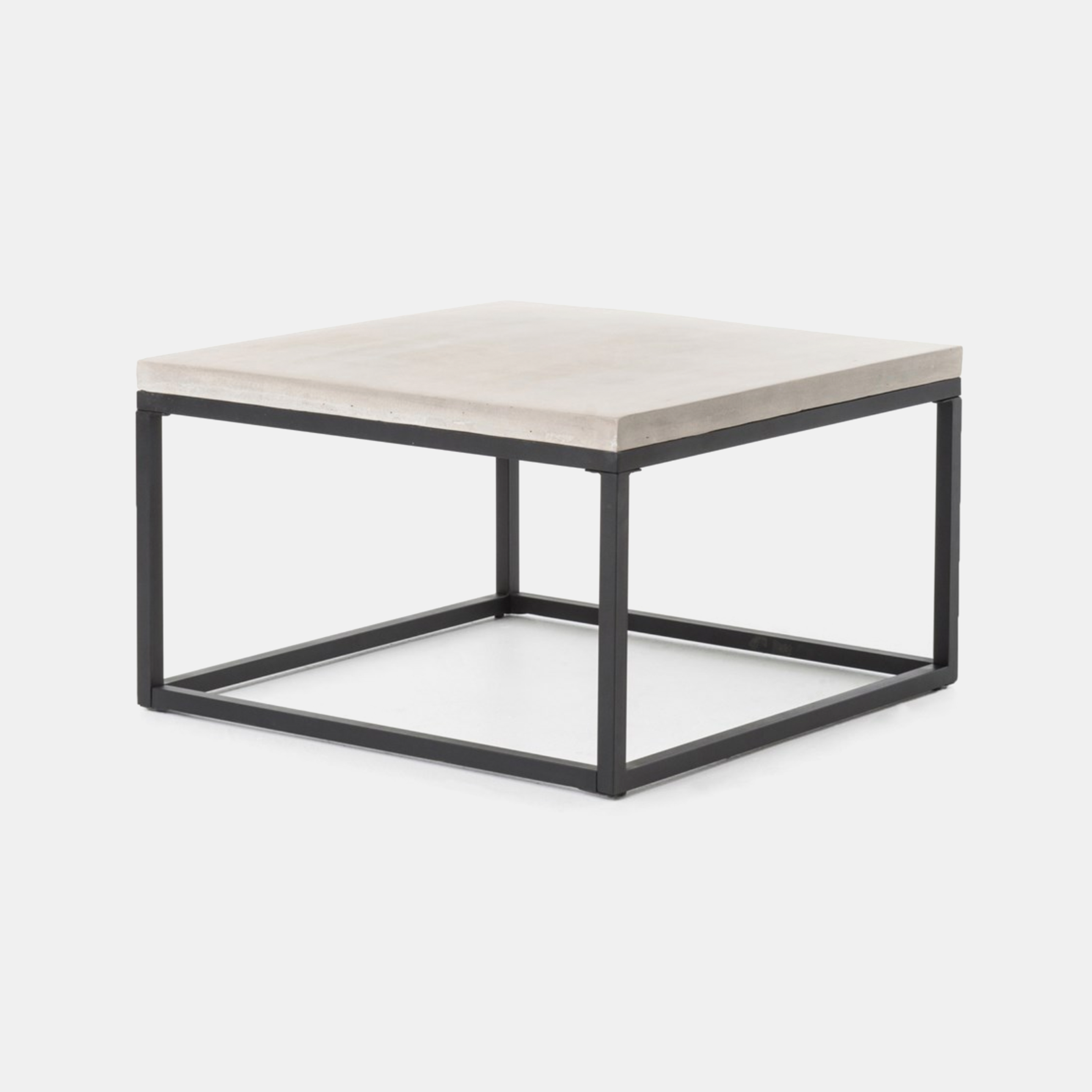 "Maximus Coffee Table  29.50""w x 29.50""d x 17.25""h 39.25""w x 19.75""d x 17.25""h Concrete top and iron base. SKU1192FHS"