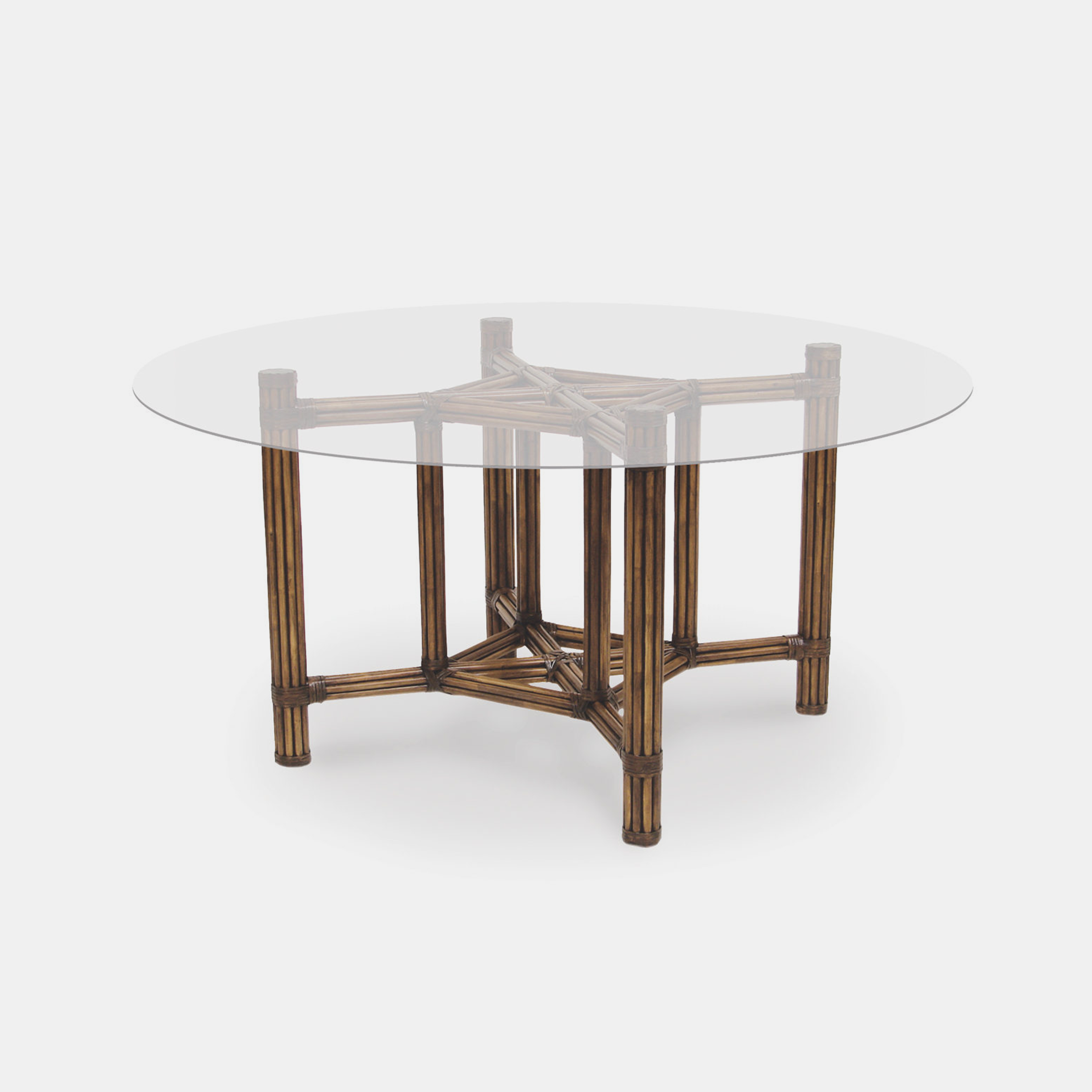"""President's Dining Table Base with Glass Top  Rattan base 31.75""""sq x 29.5""""h Glass top up to 58""""w SKU81908PLK"""