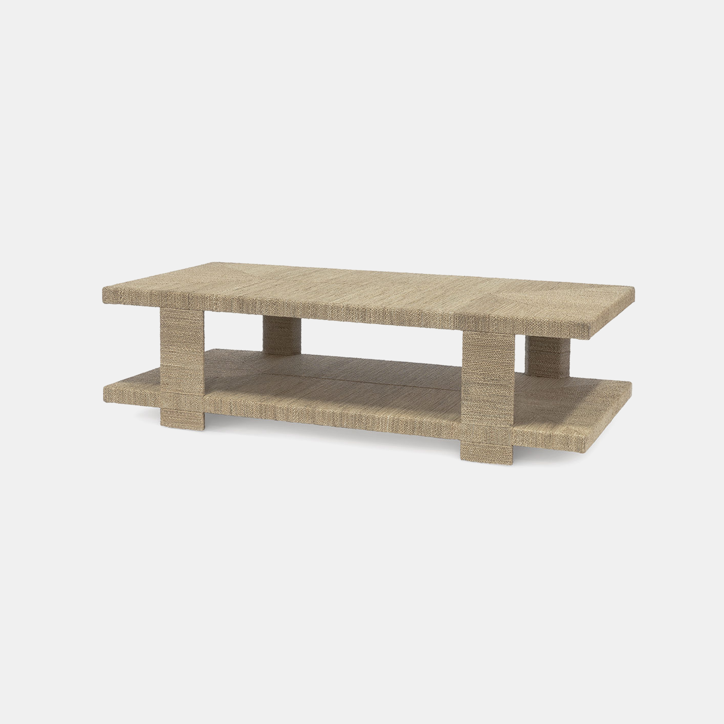 "Clint Coffee Table  60""l x 30""w x 17""h Available in natural (shown) and white sand. Also available as side table and console table. SKU10495PLK"