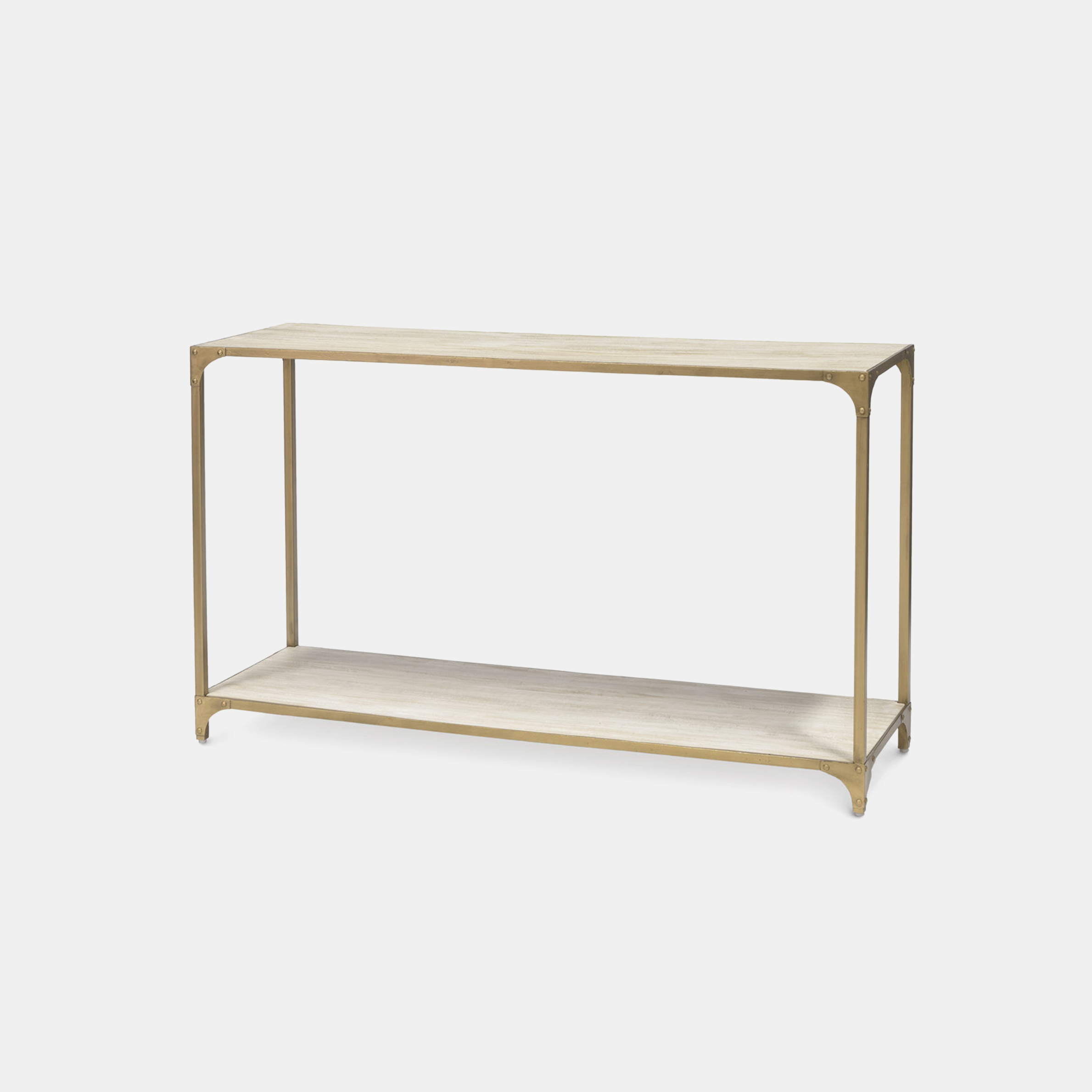 """Ellison Console  54""""w x 16""""d x 32""""h Wood shelves and metal frame. Also available as side table and coffee table. SKU5293PLK"""