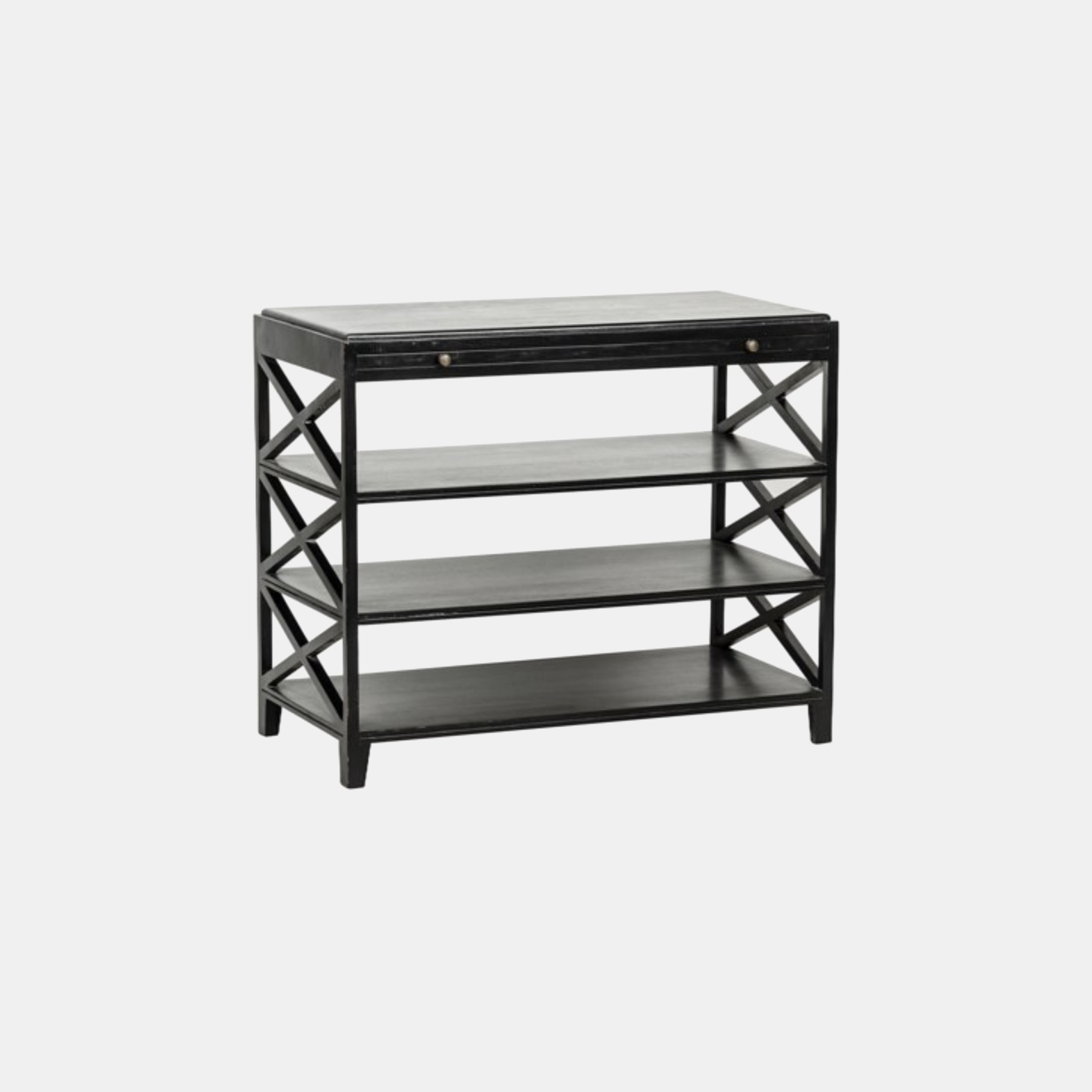 """Sutton Criss-Cross Table  36""""l x 18""""d x 30""""h   Available in white wash and black (shown). SKU4412NOR"""