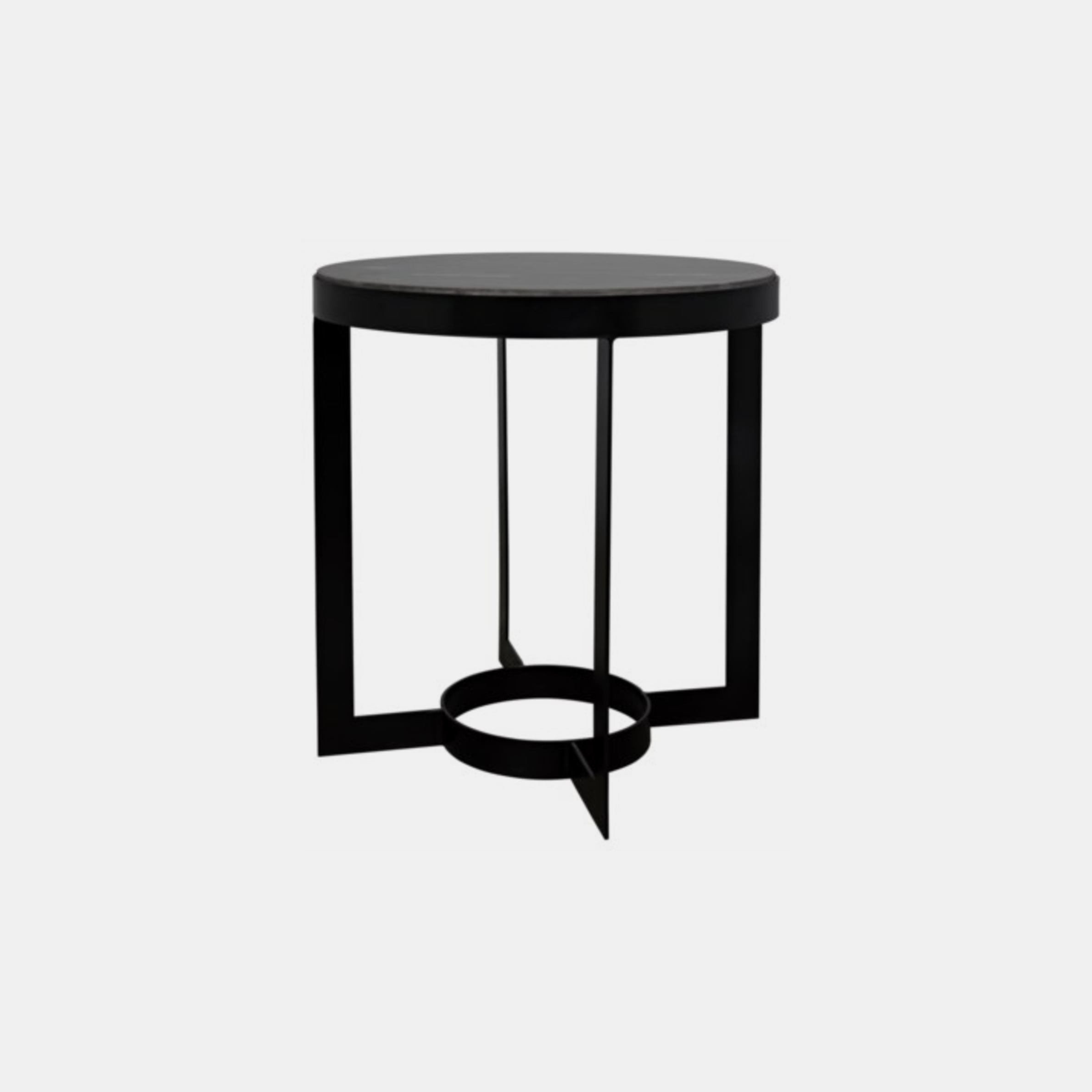"""Parker Side Table with Marble  25"""" round x 26"""" h Available in metal with black marble (shown) and antique brass with white quartz. SKU5590NOR"""