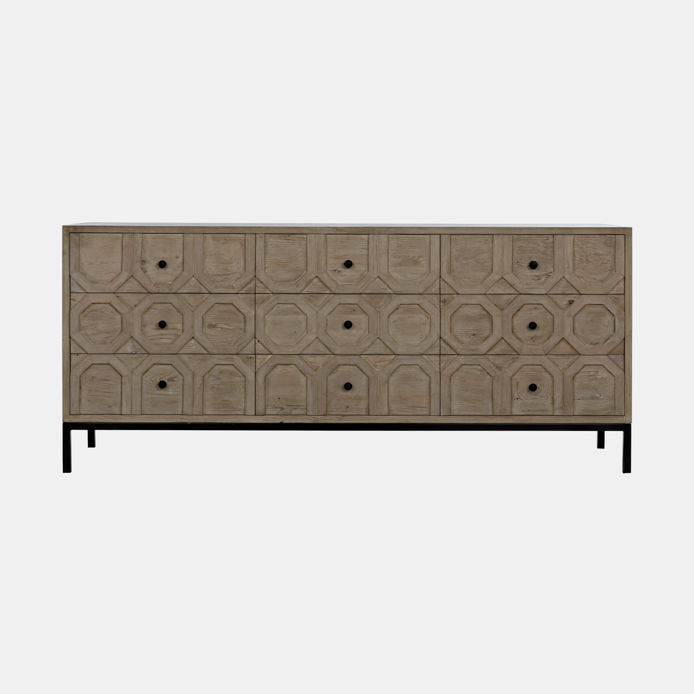 "Hadley Buffet  74""l x 22""d x 32.5""h Available in shellacked walnut or gray wash wax fir (shown). Also available as 3-drawer dresser 34""l x 20""d x 31""h. SKU2399CFC"