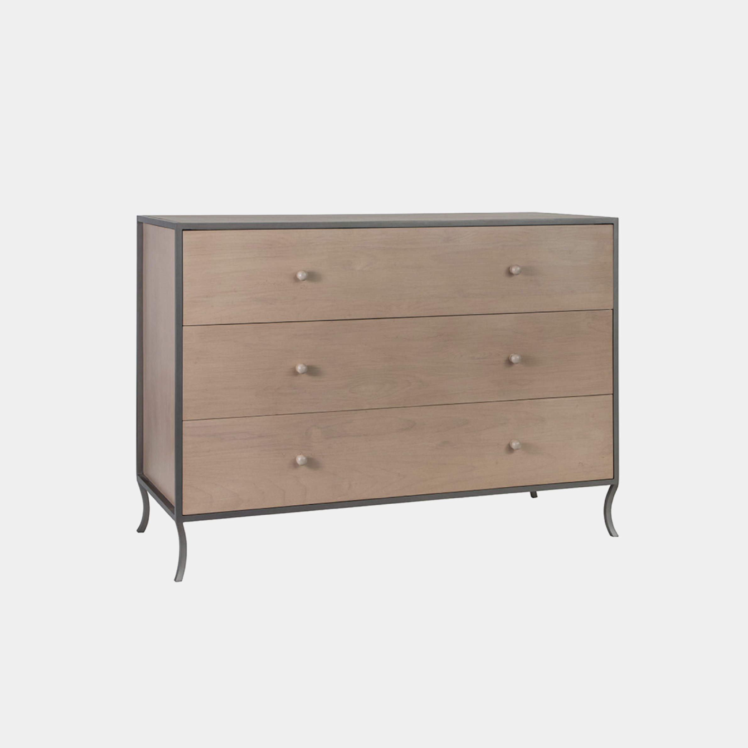 "Milla 3-Drawer Dresser  49""l x 20""d x 34""h Available in several wood and metal finishes. Also available as 6-drawer dresser, side table, small side table, and side table with drawers. SKU9987RFH"