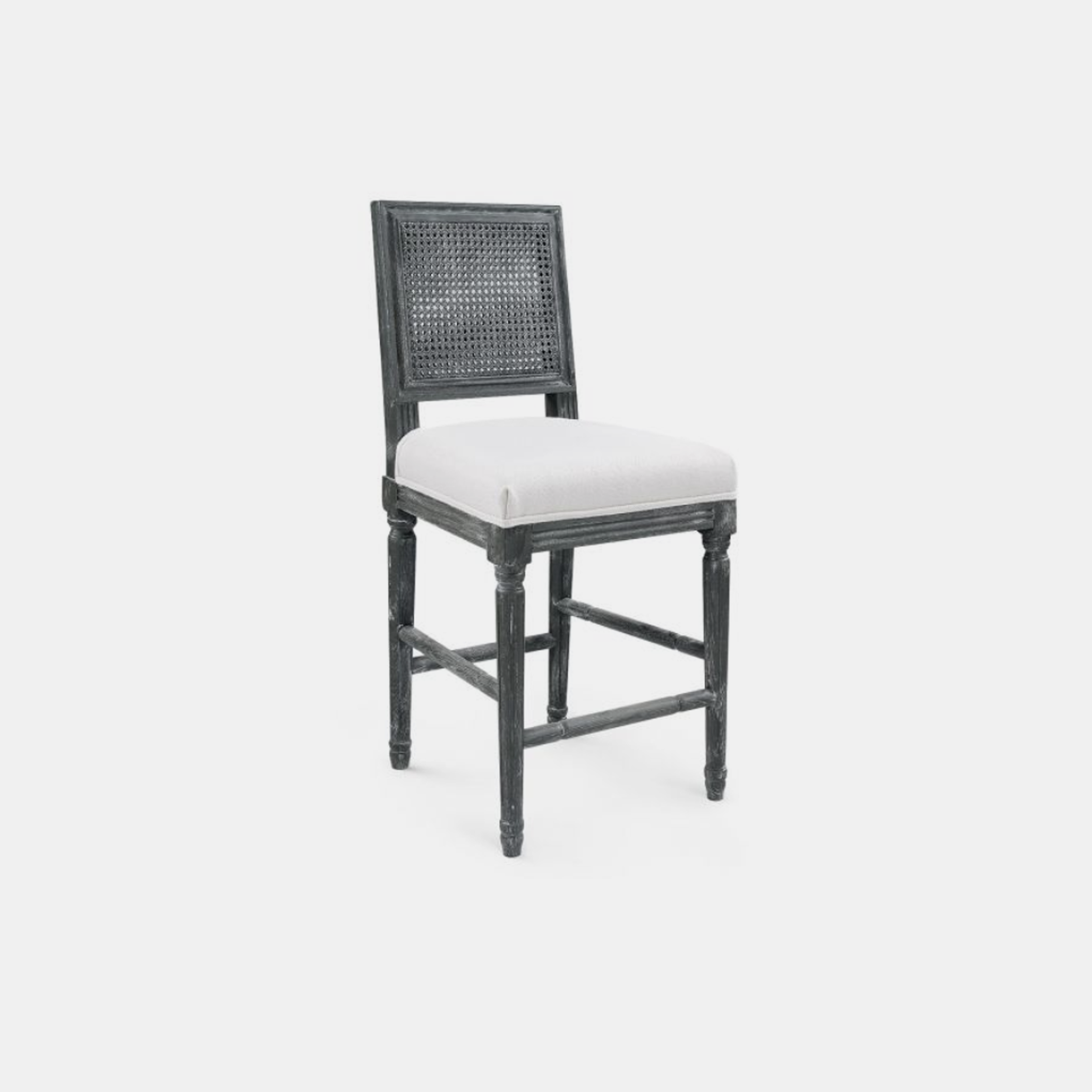"Annette Counter Stool  19""w x 19""d x 39.5""h Available in gray (shown) and natural. Also available as side chair. SKU6694BGW"
