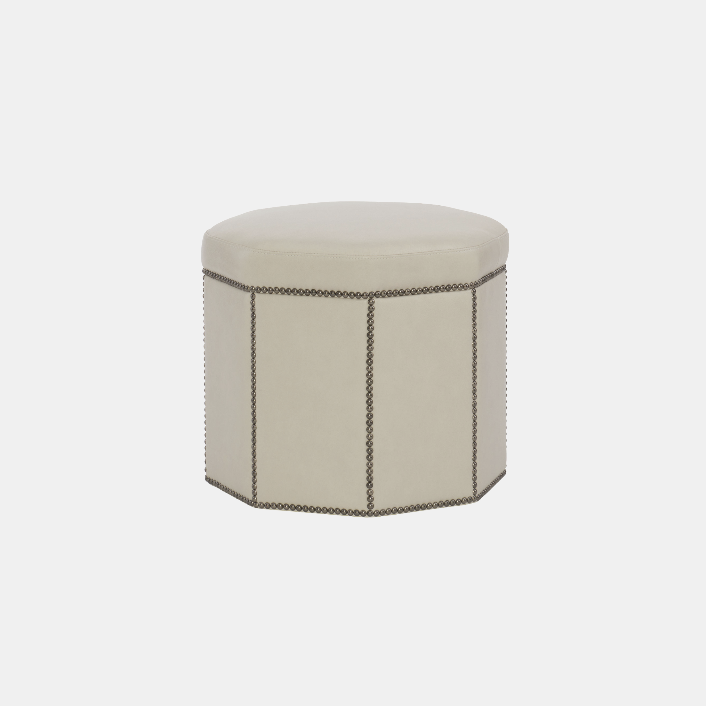"Dolly Ottoman  20"" round x 18'""h Available in leather and fabric. Available with or without nailheads. SKU023BHT"