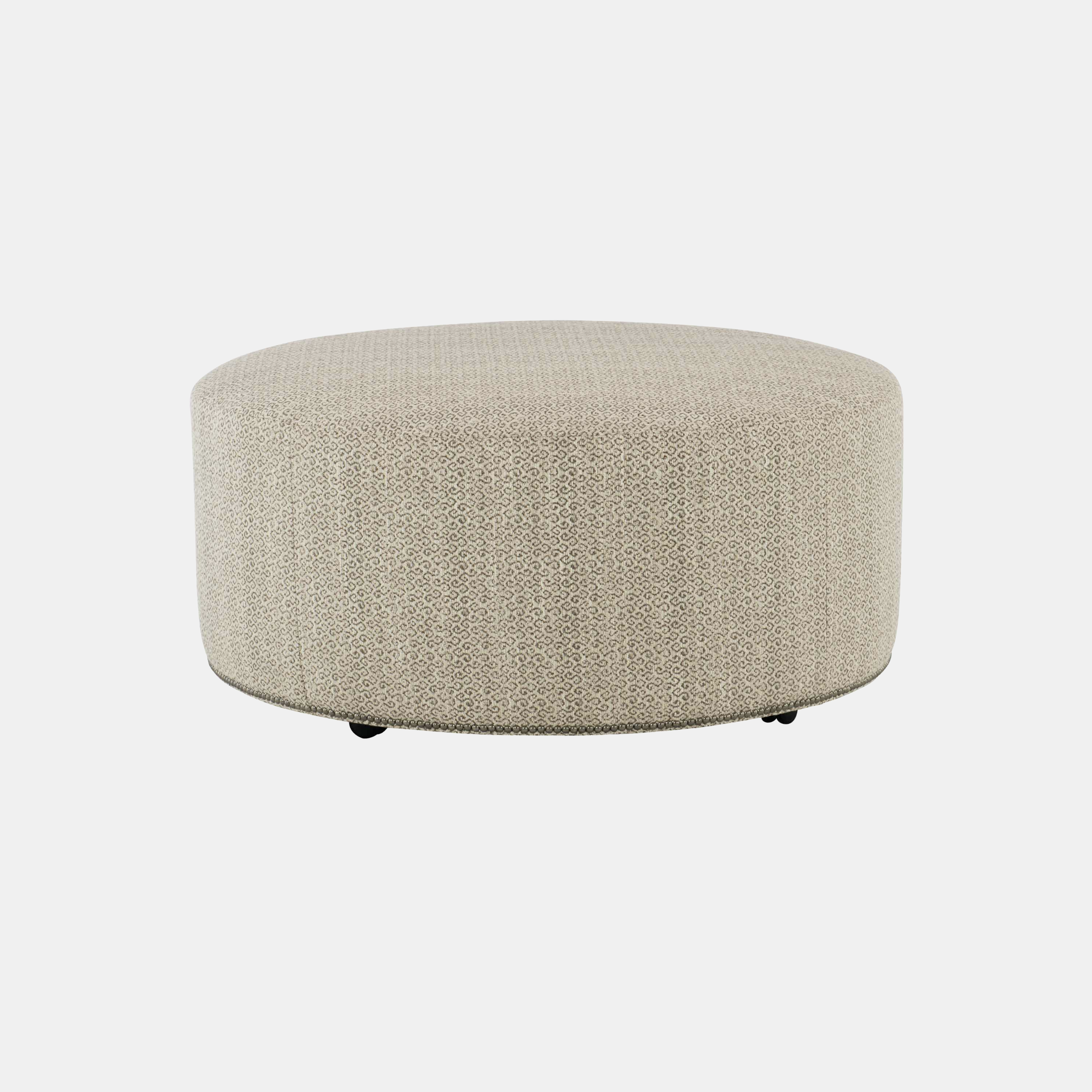 "Lolo Round Ottoman  40"" or 48"" round x 18""h Available in leather and fabric. Available with or without nailheads. SKU59986BHT"