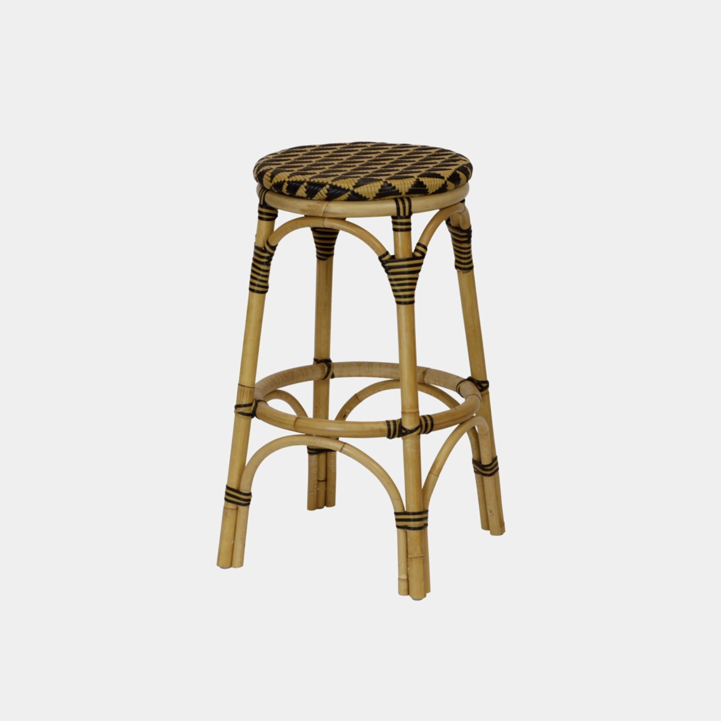 "Pinnacles Bar Stool  23.5"" round x 30""h Available in natural/black (shown), blue/white, and white/blush. Also available as dining arm chair, dining side chair, and counter stool. SKU5932SLM"