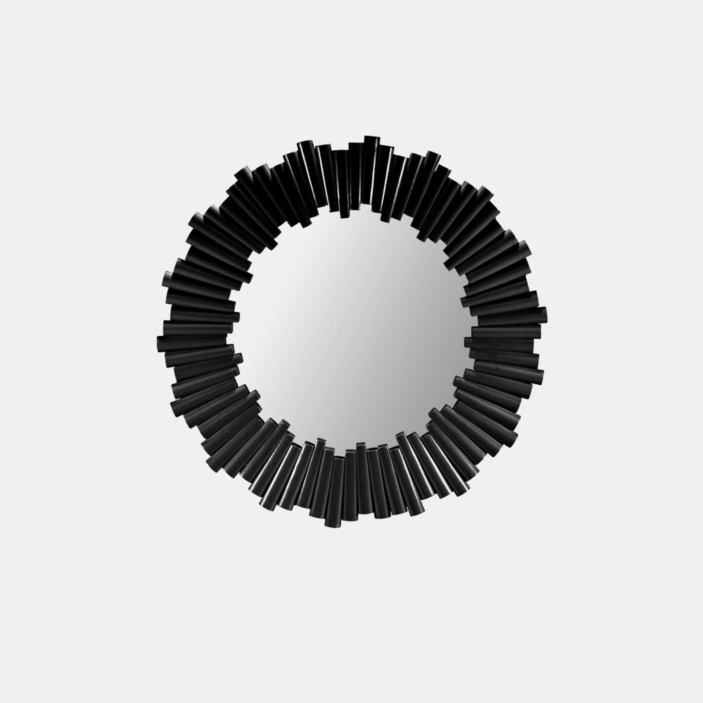 "Charles Mirror  34"" round Available in black (shown), nutmeg, and white. SKU1199SLM"