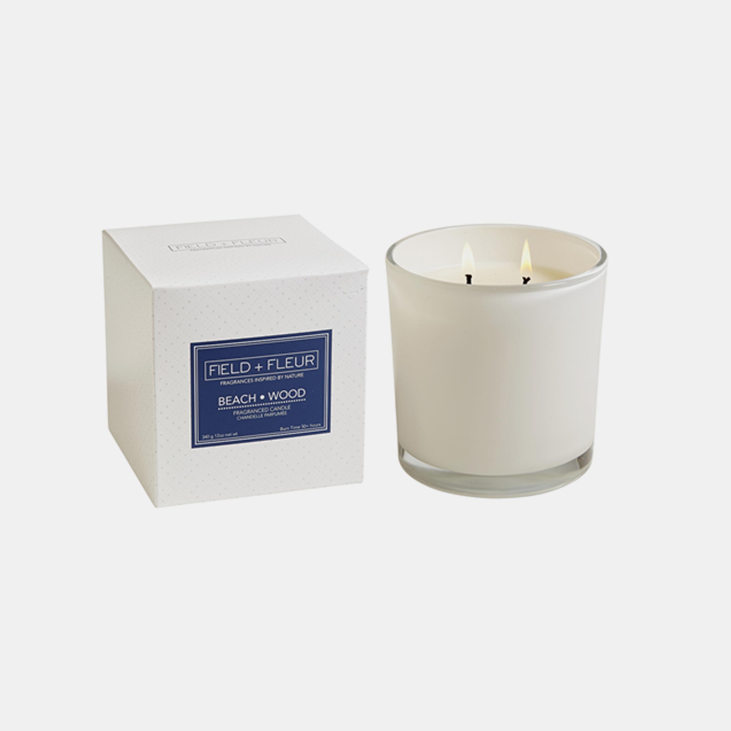 Beach Wood Candle  Two-wick candle in white glass jar. 12 oz. SKU38384HLN